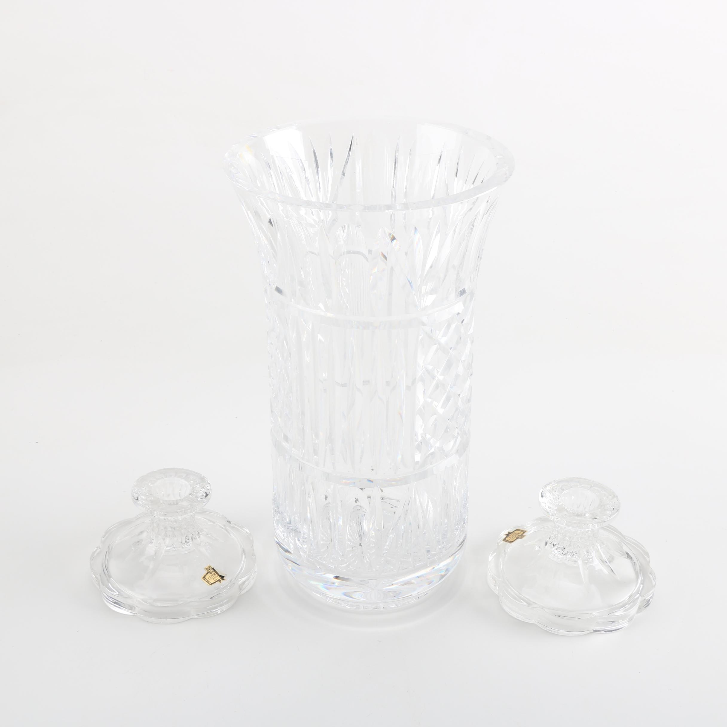 Crystal Vase and Candleholders
