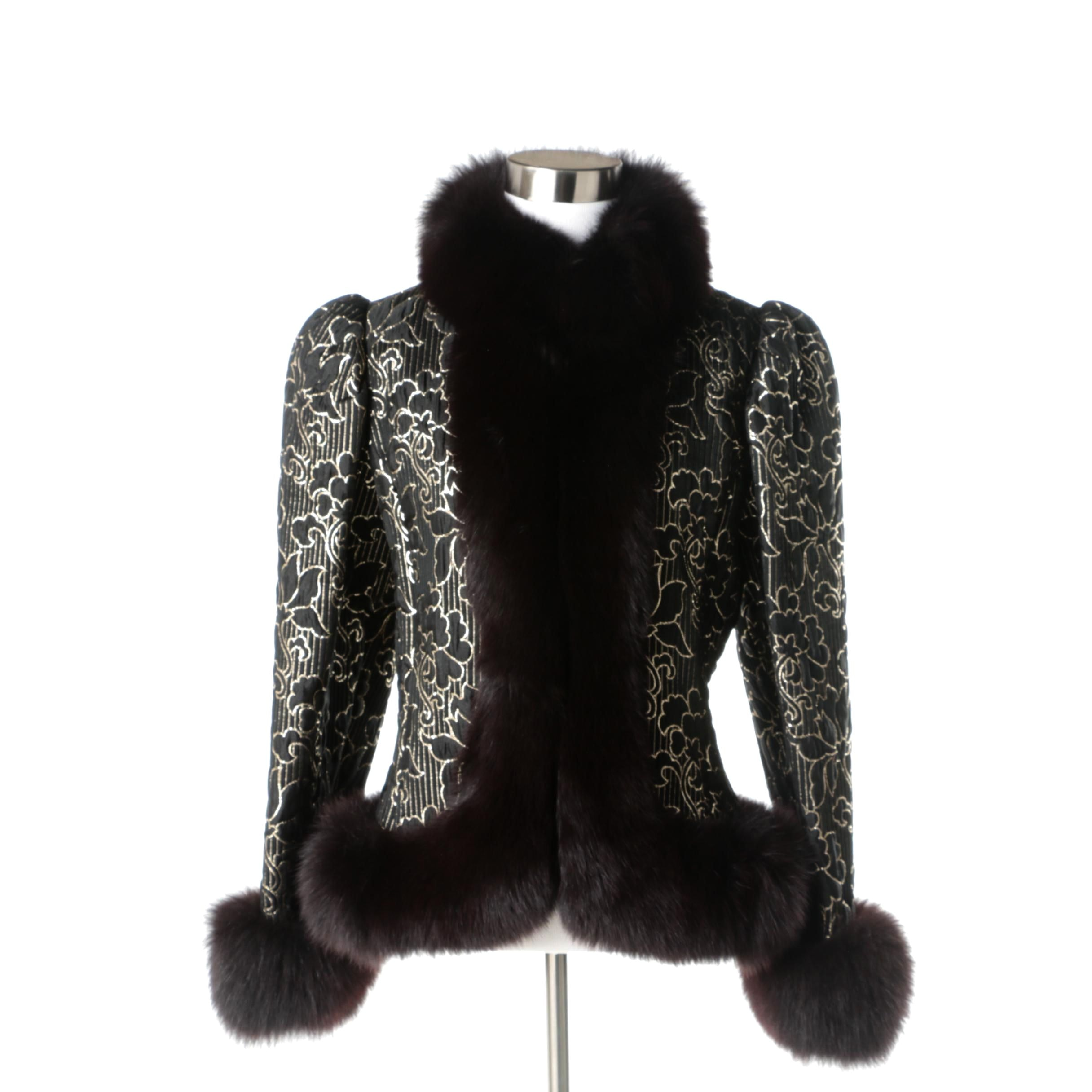 Charles Romain of Paris Evening Jacket with Fox Fur Trim