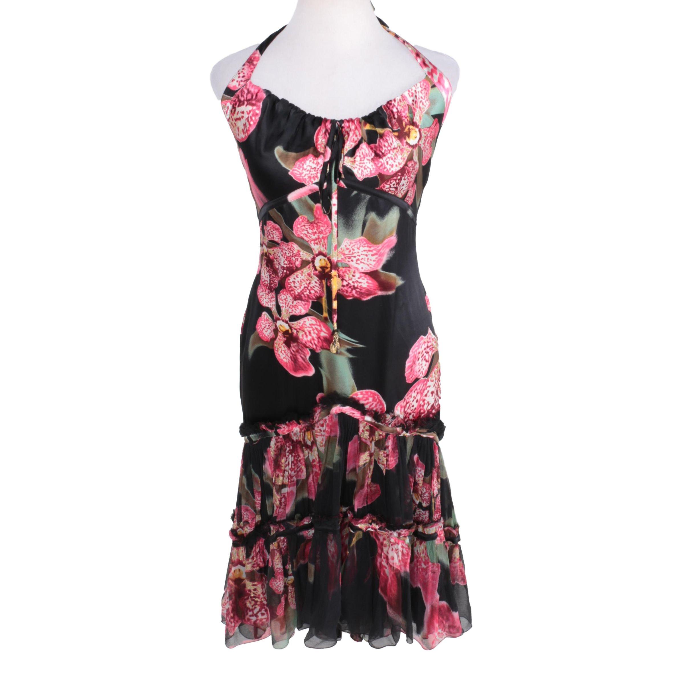 Roberto Cavalli Floral Print Halter Dress