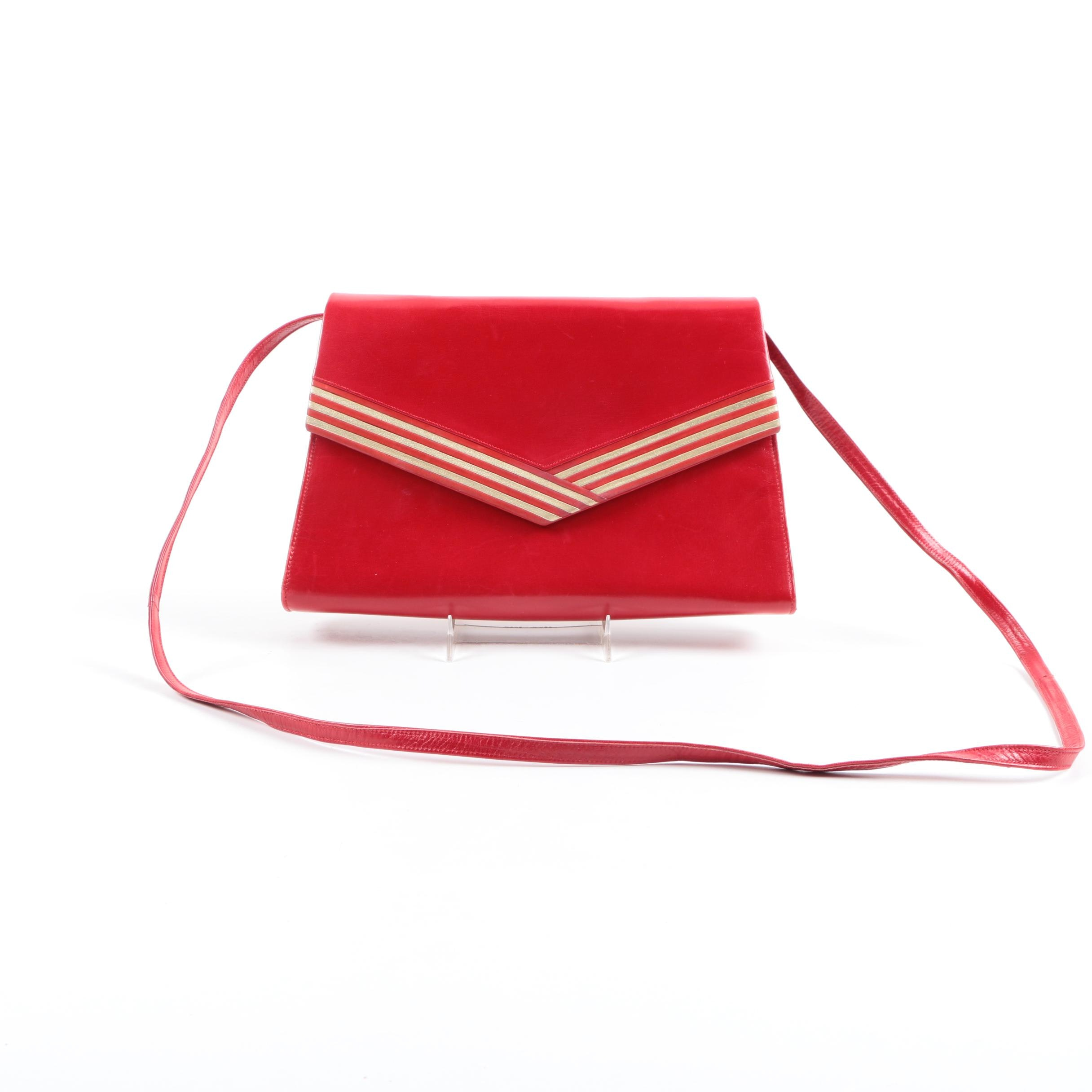 Vintage Bally Red Leather Crossbody Bag
