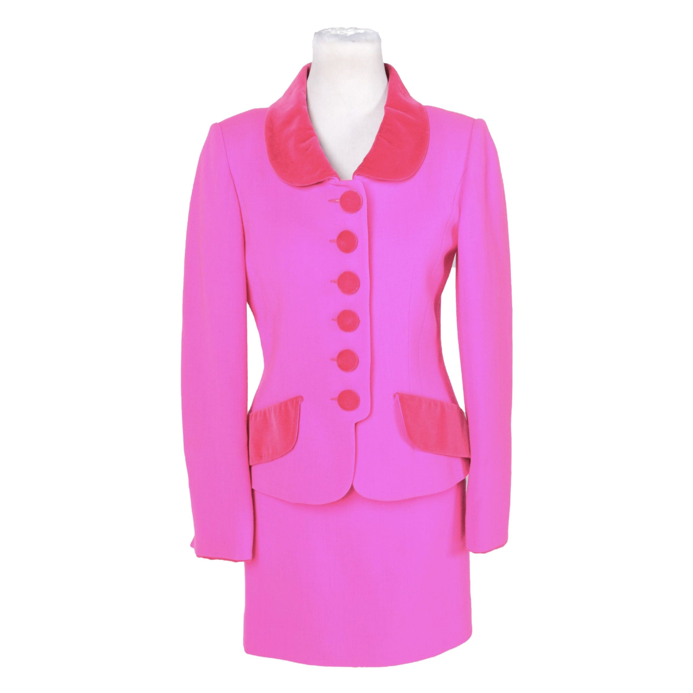 Nina Ricci Boutique Vibrant Pink Wool Suit
