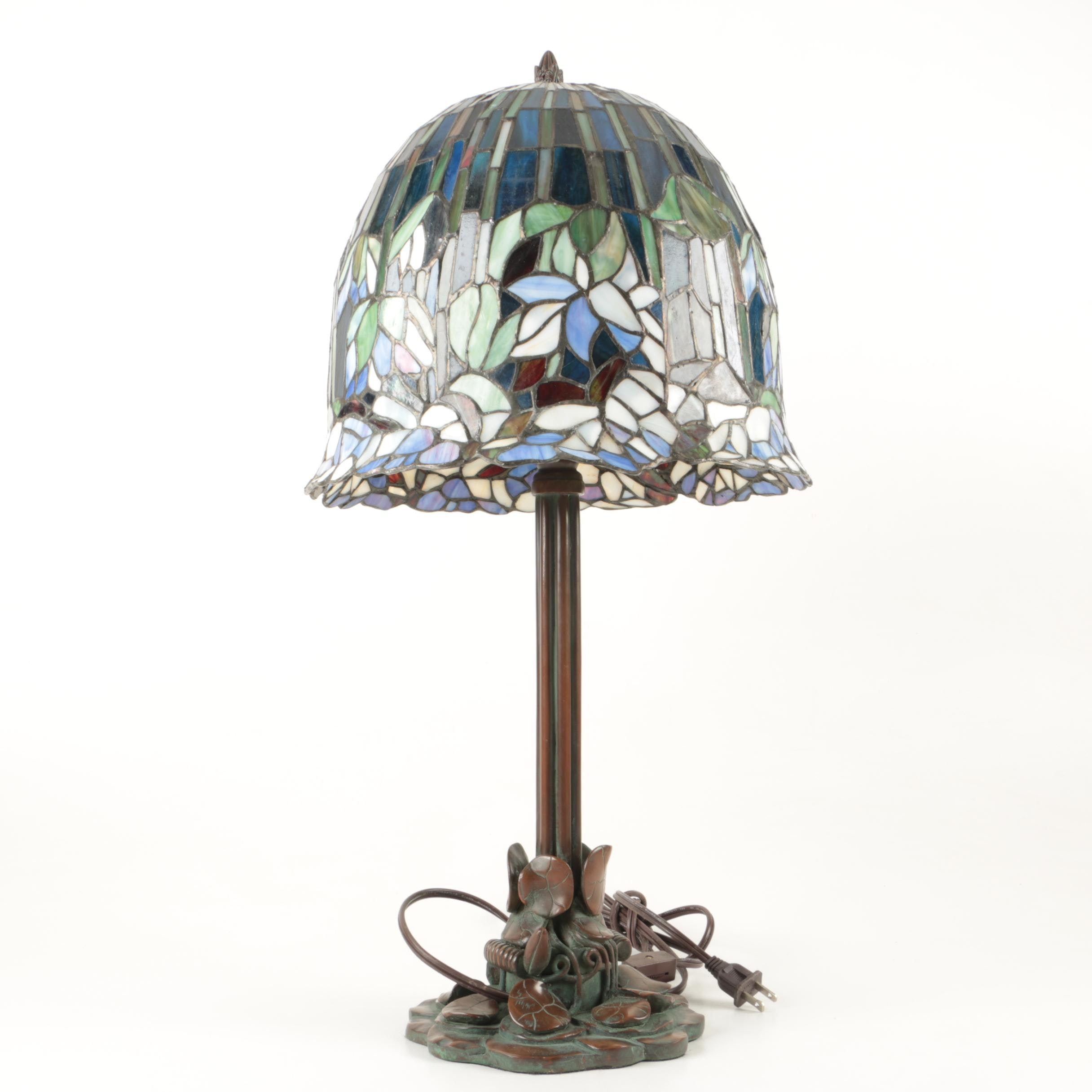 Tiffany Reproduction Bronze Tone Table Lamp With Slag Glass Shade