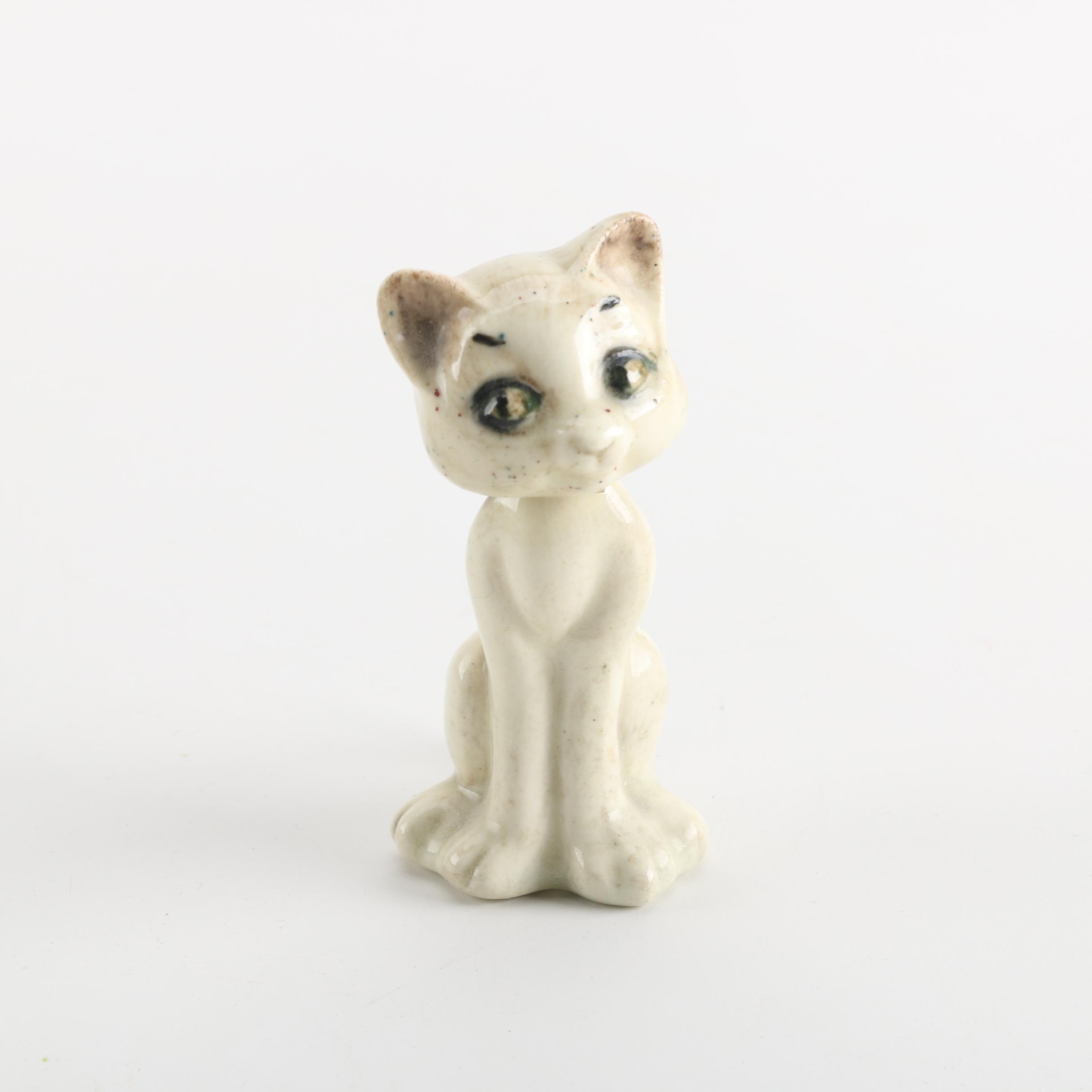 Vintage Ceramic Cat Bobblehead