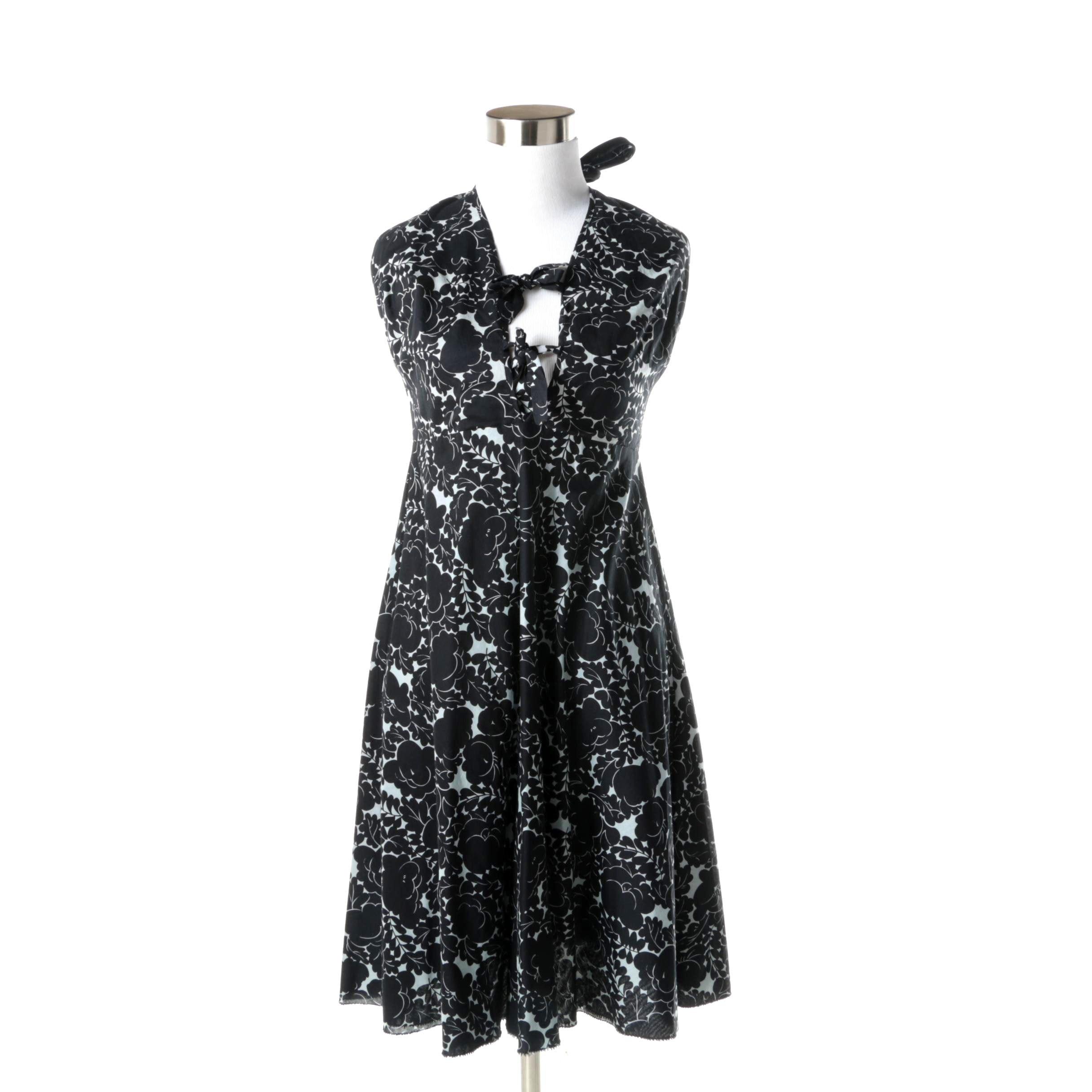 Nicole Miller Black and White Halter Dress