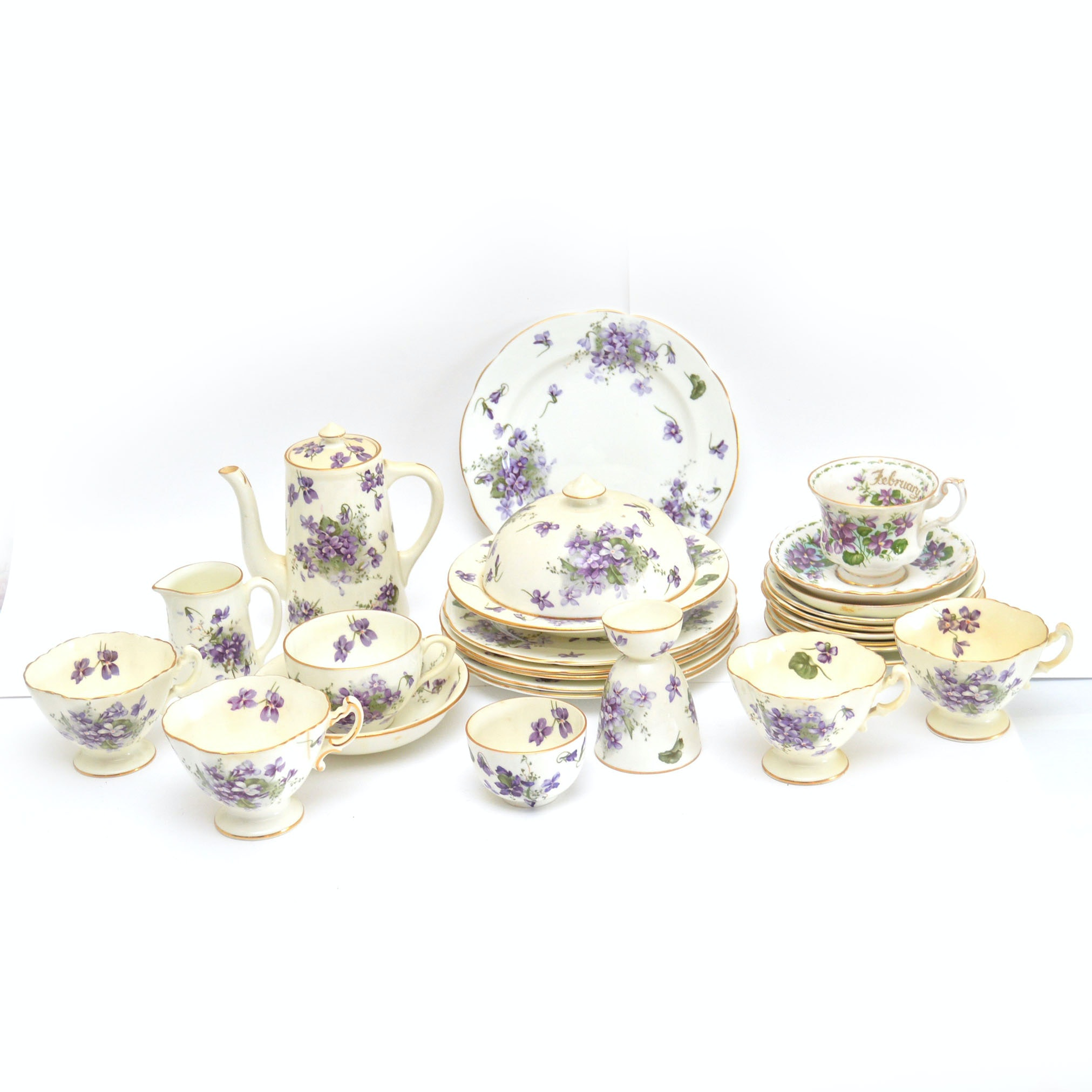 """Collection of Hammersley 'Victorian Violets"""" Bone China"""