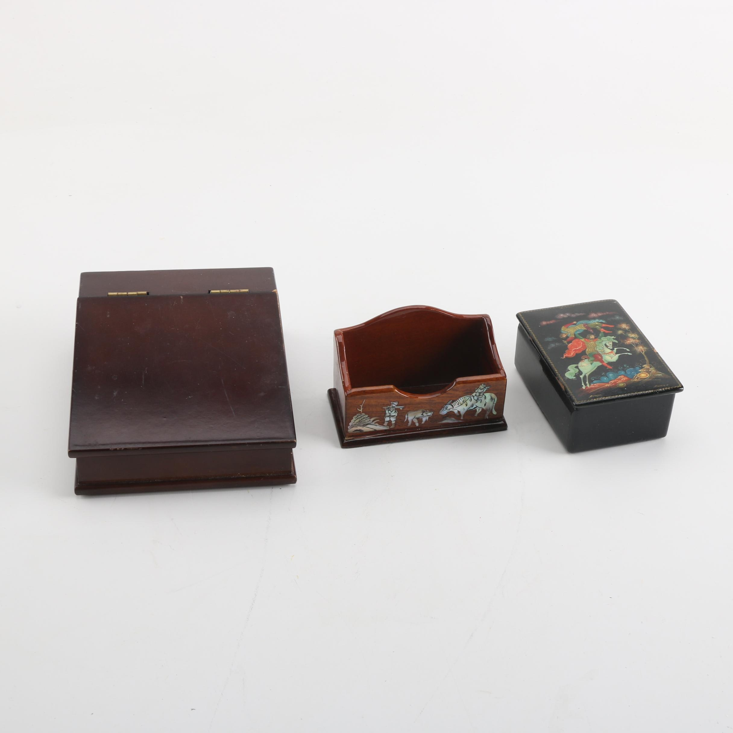 Wooden Boxes Including Hand-Painted Russian Lacquer Box