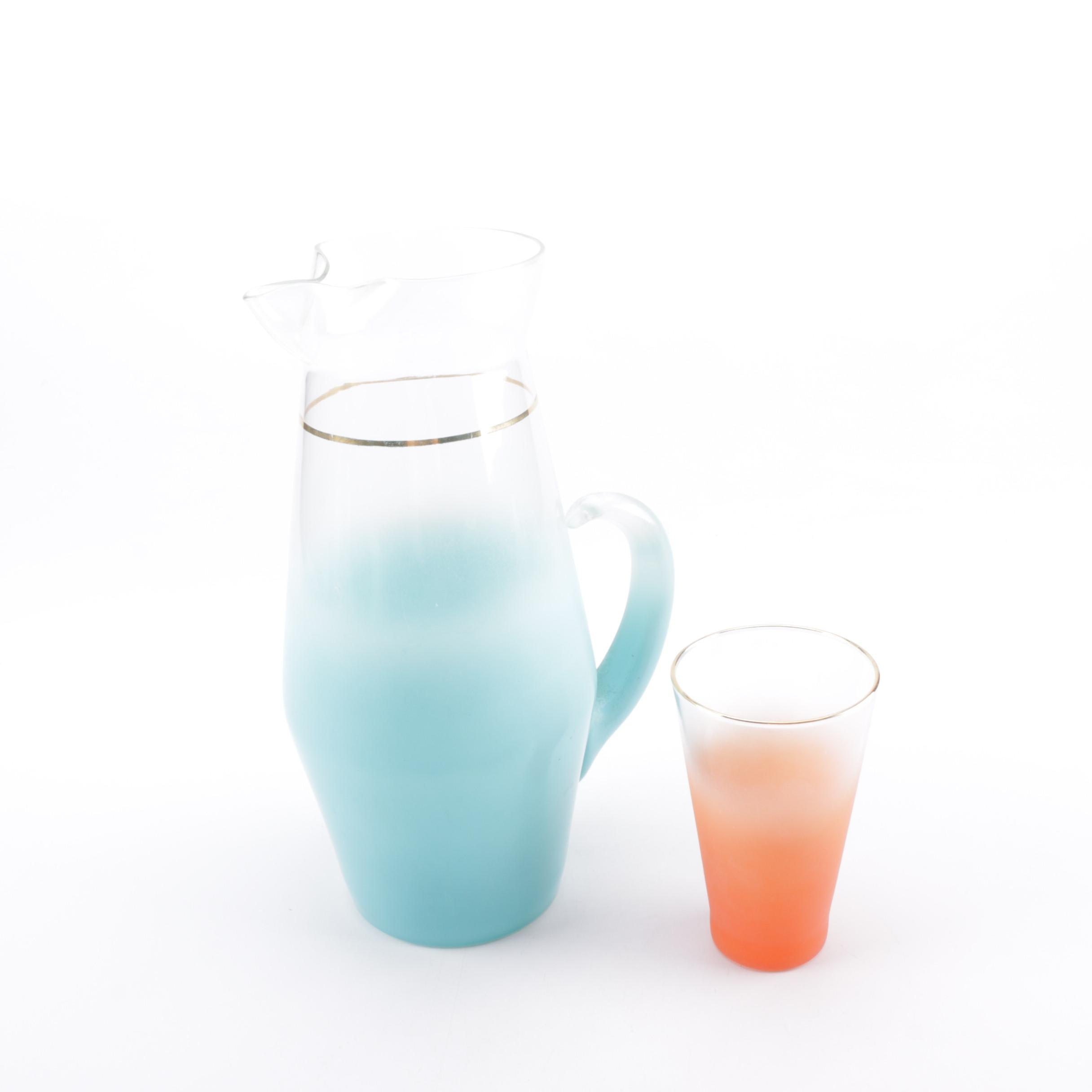 Mid Century Modern Blendo Glass Pitcher and Cup