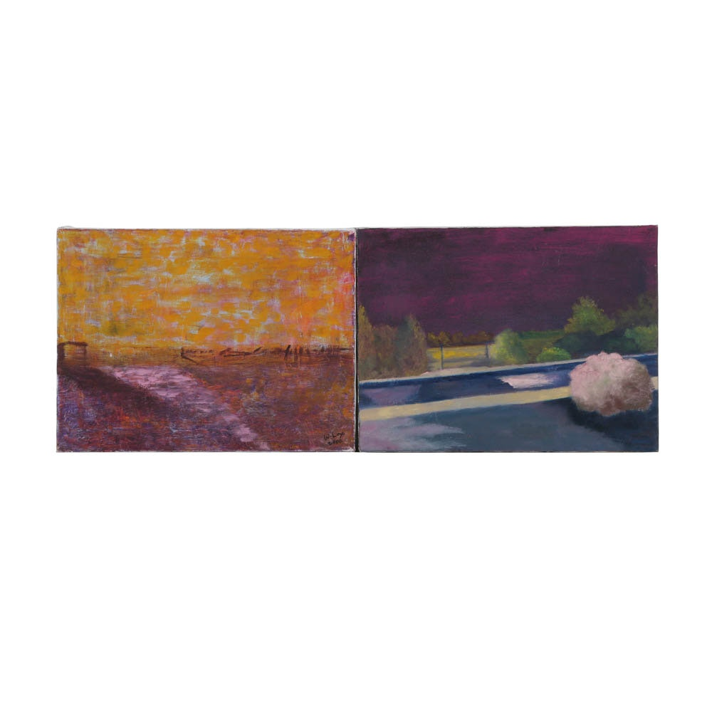 Wendy Lax Pair of Oil Paintings on Canvas of Purple Landscapes