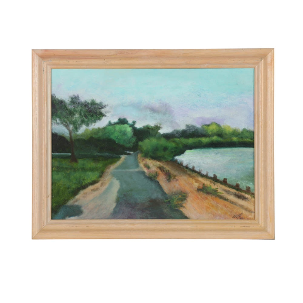 Wendy Lax Oil Painting on Canvas of Waterfront Scene