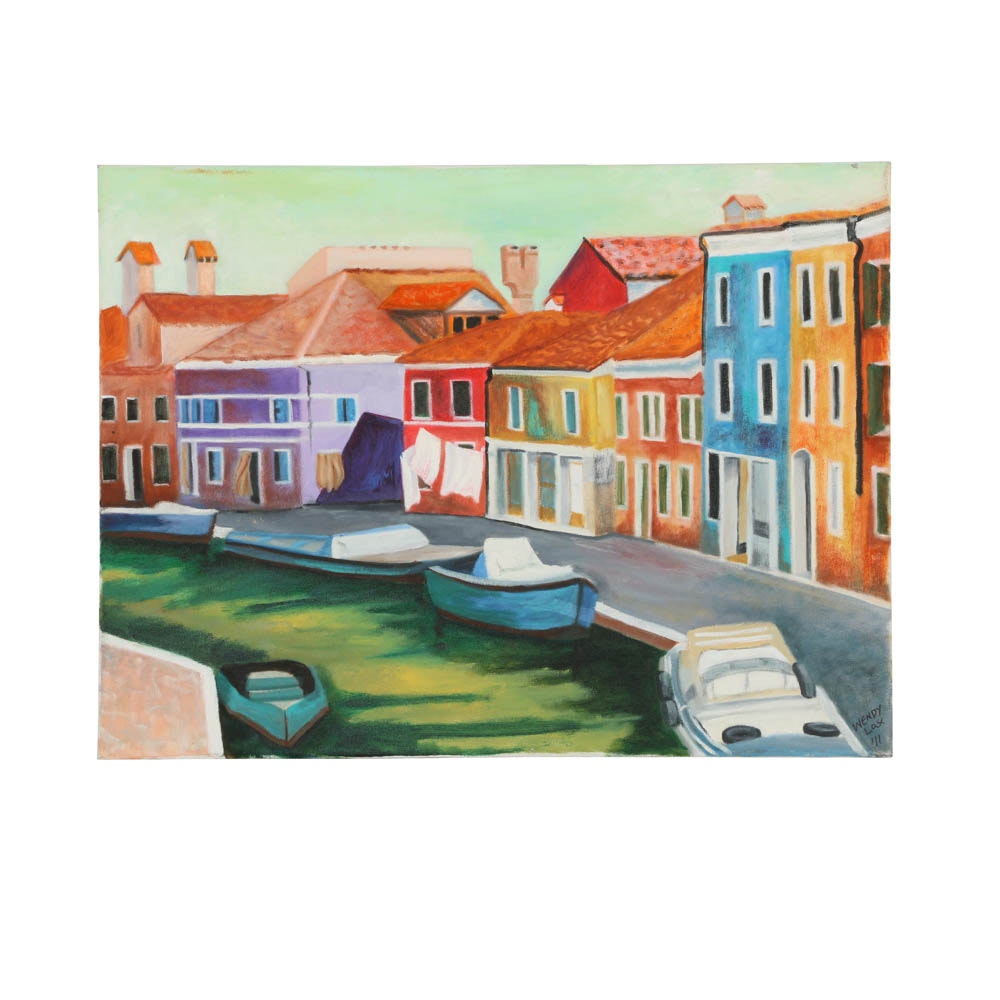 Wendy Lax Oil Painting on Canvas of Burano
