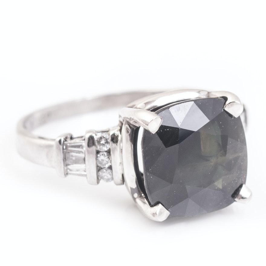 platinum ct sapphire and diamond ring ebth. Black Bedroom Furniture Sets. Home Design Ideas