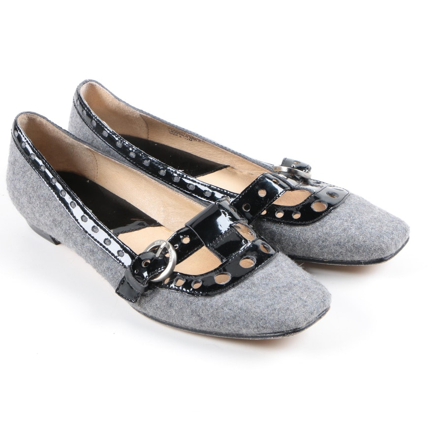 Silver Mary Jane Block Heel Shoes