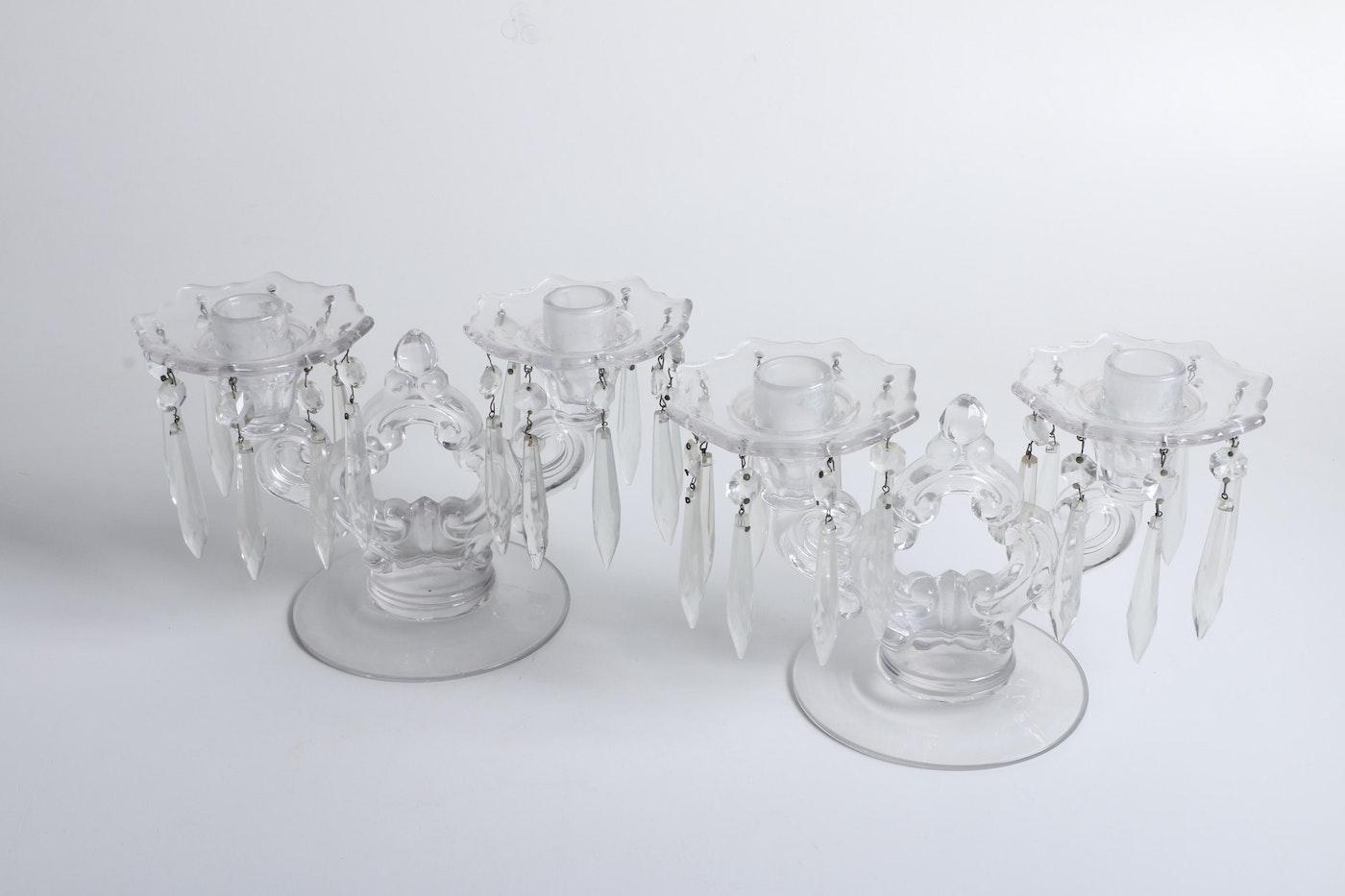 Pair of depression glass candelabras with prism adorned for Baltimore glassware decorators