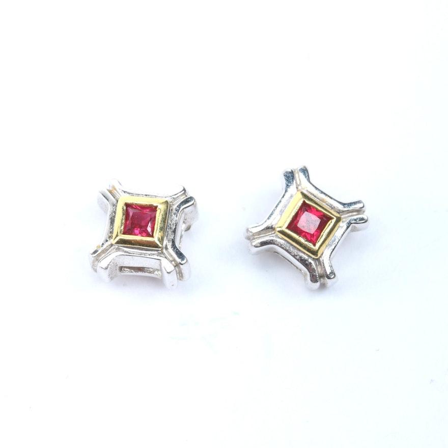 6fa0cd8b9 18K Two Tone Gold Ruby Stud Earrings : EBTH
