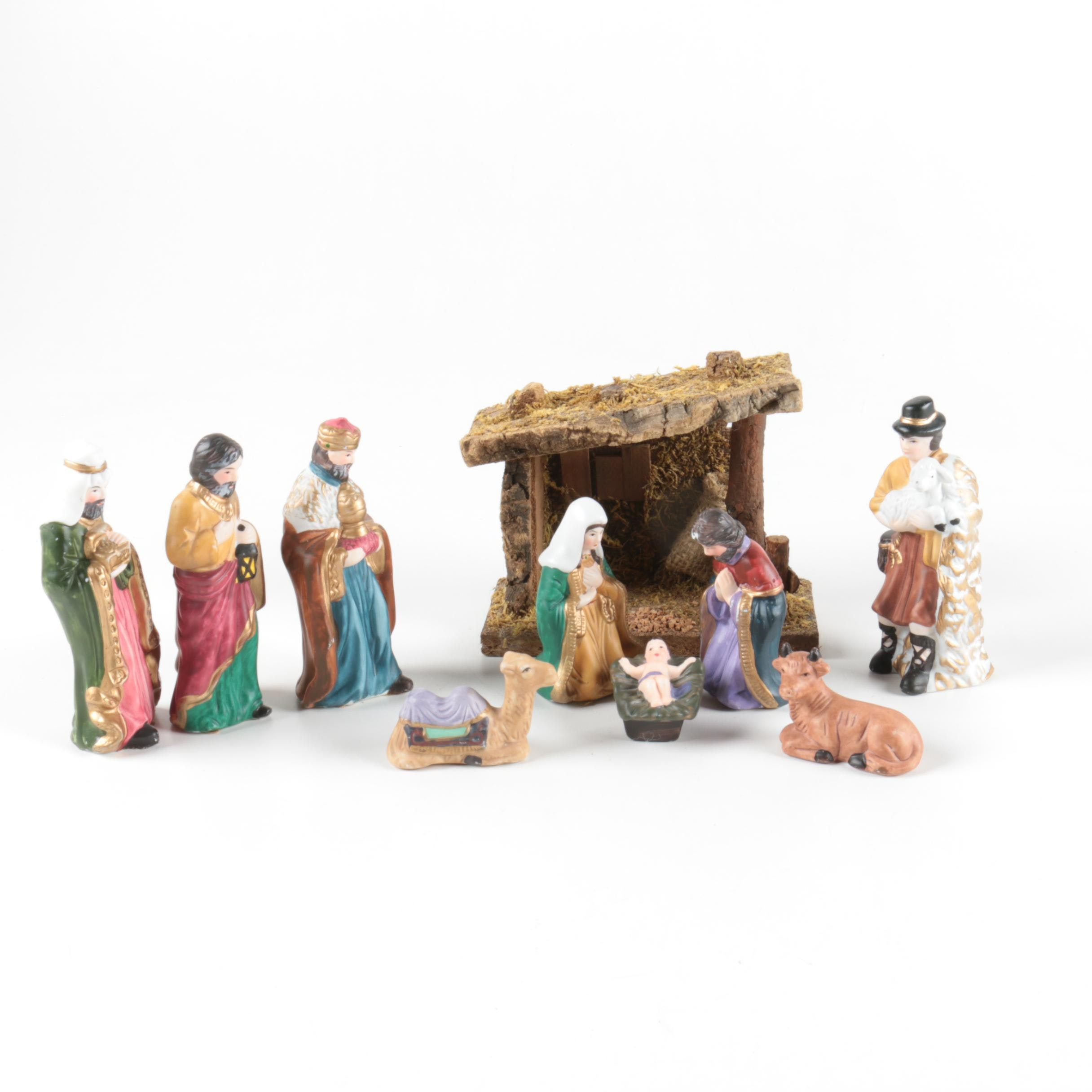 Hand-Painted Ceramic Nativity Scene