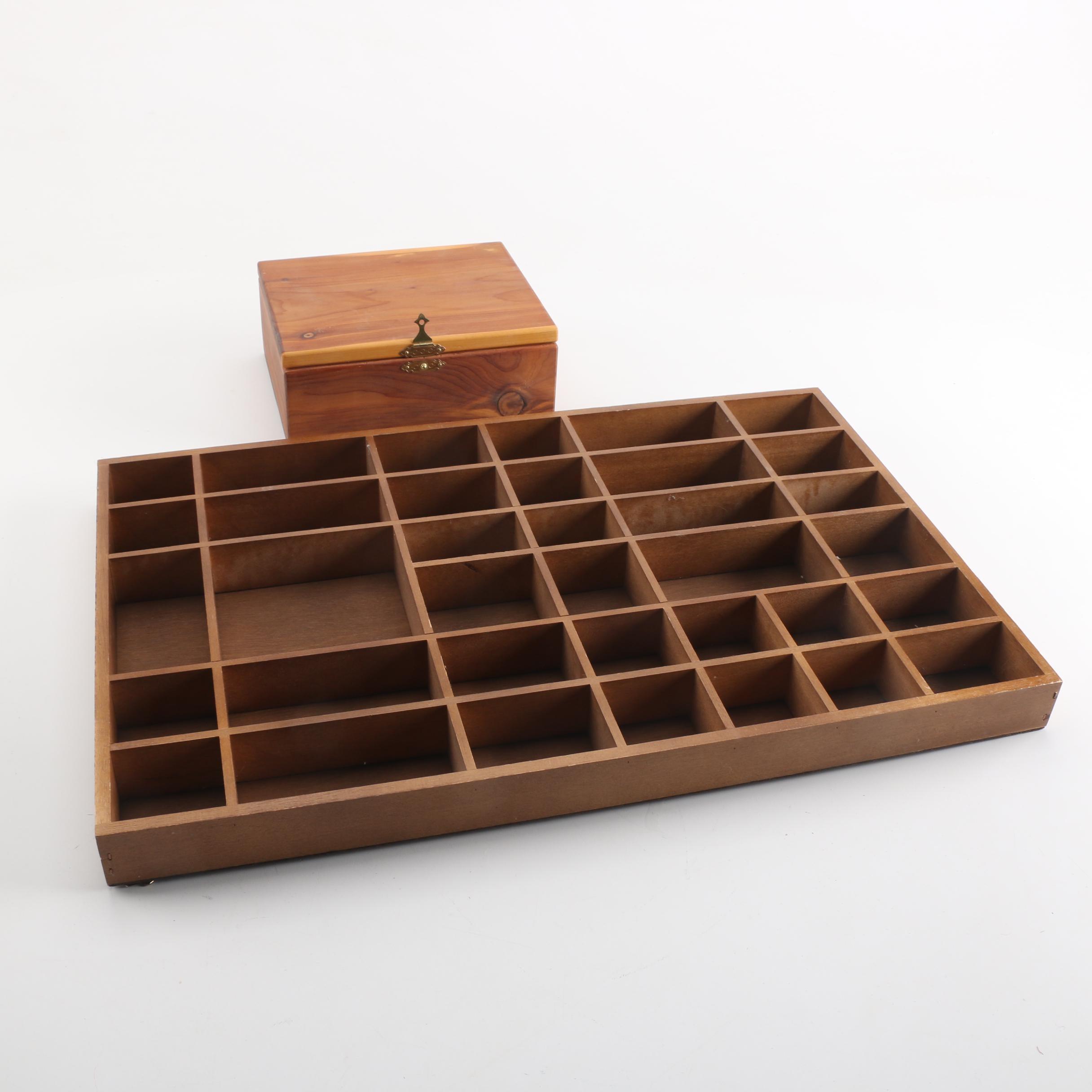 Wooden Printer's Typeset Tray and Cedar Box