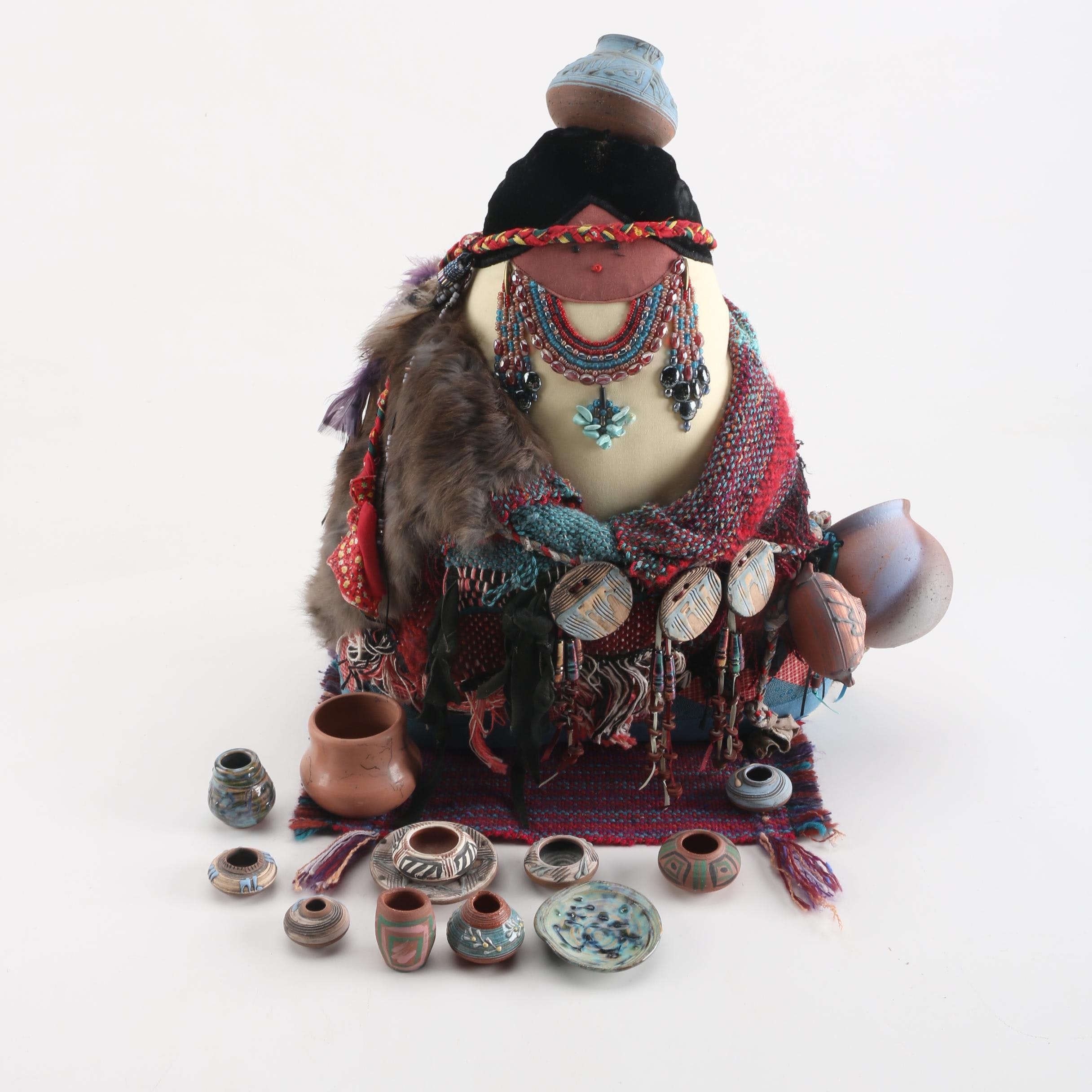 South American Soft Sculpture with Weaving and Miniature Pots