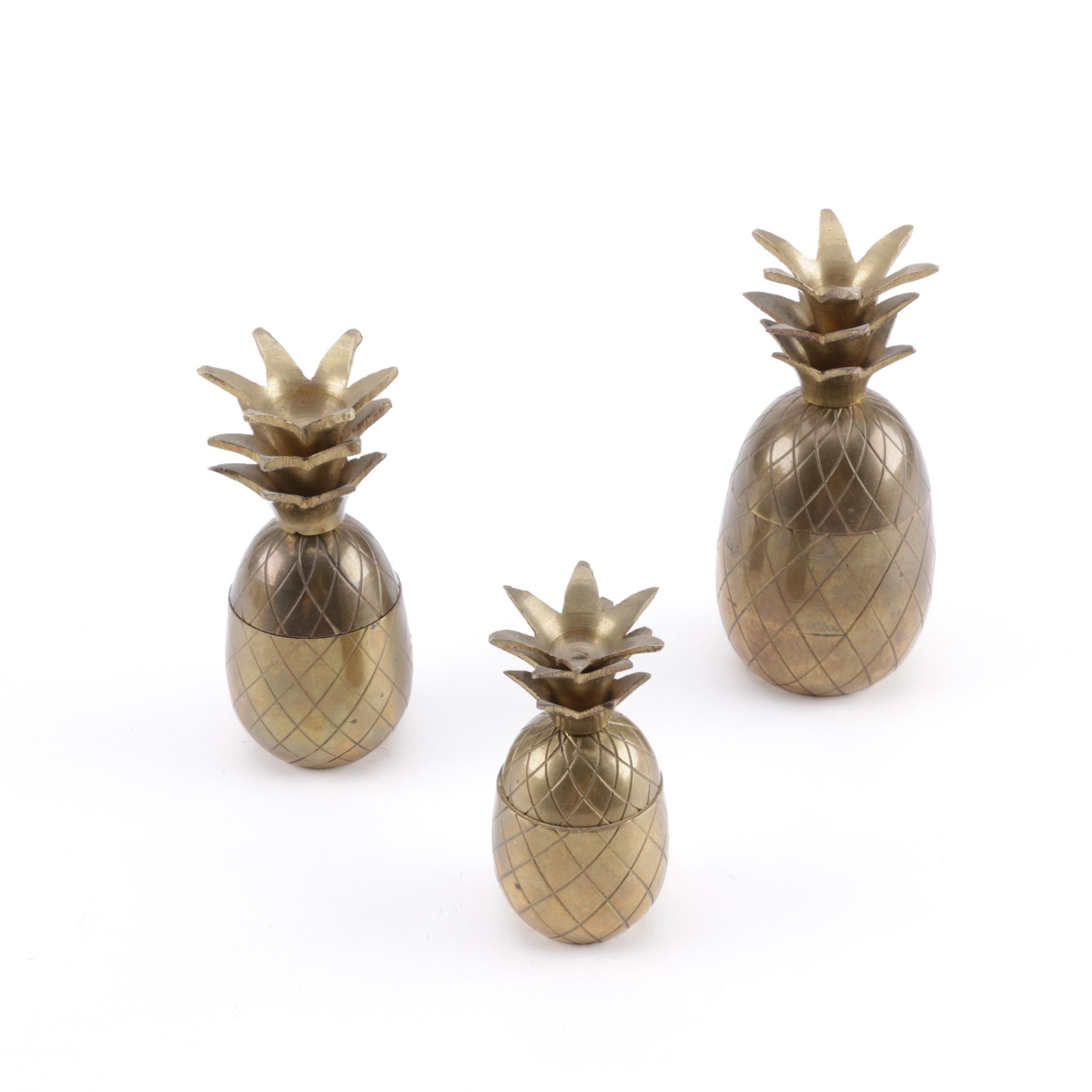 Brass Pineapple Trinket Boxes