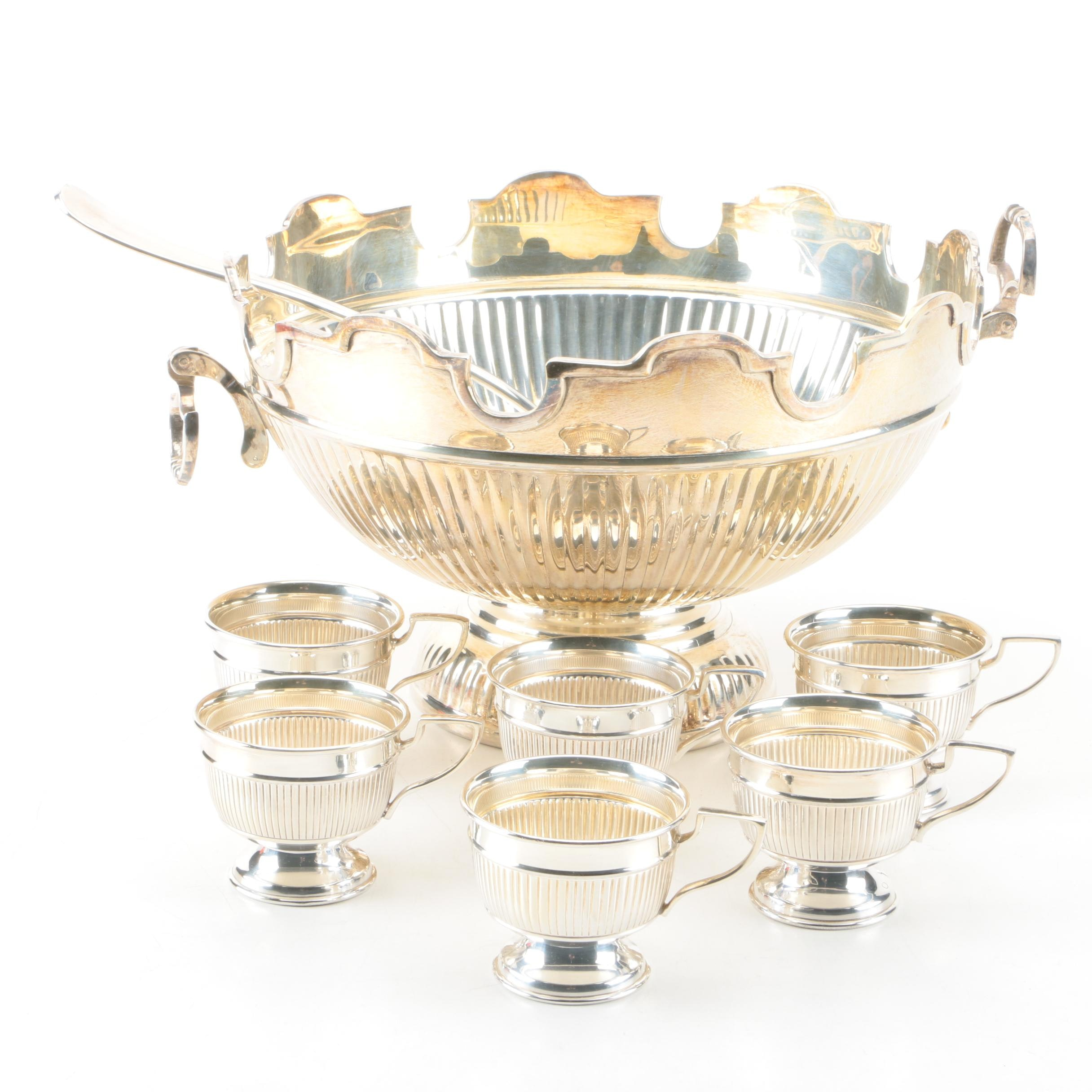 Silver-Plated Monteith Punch Bowl Set