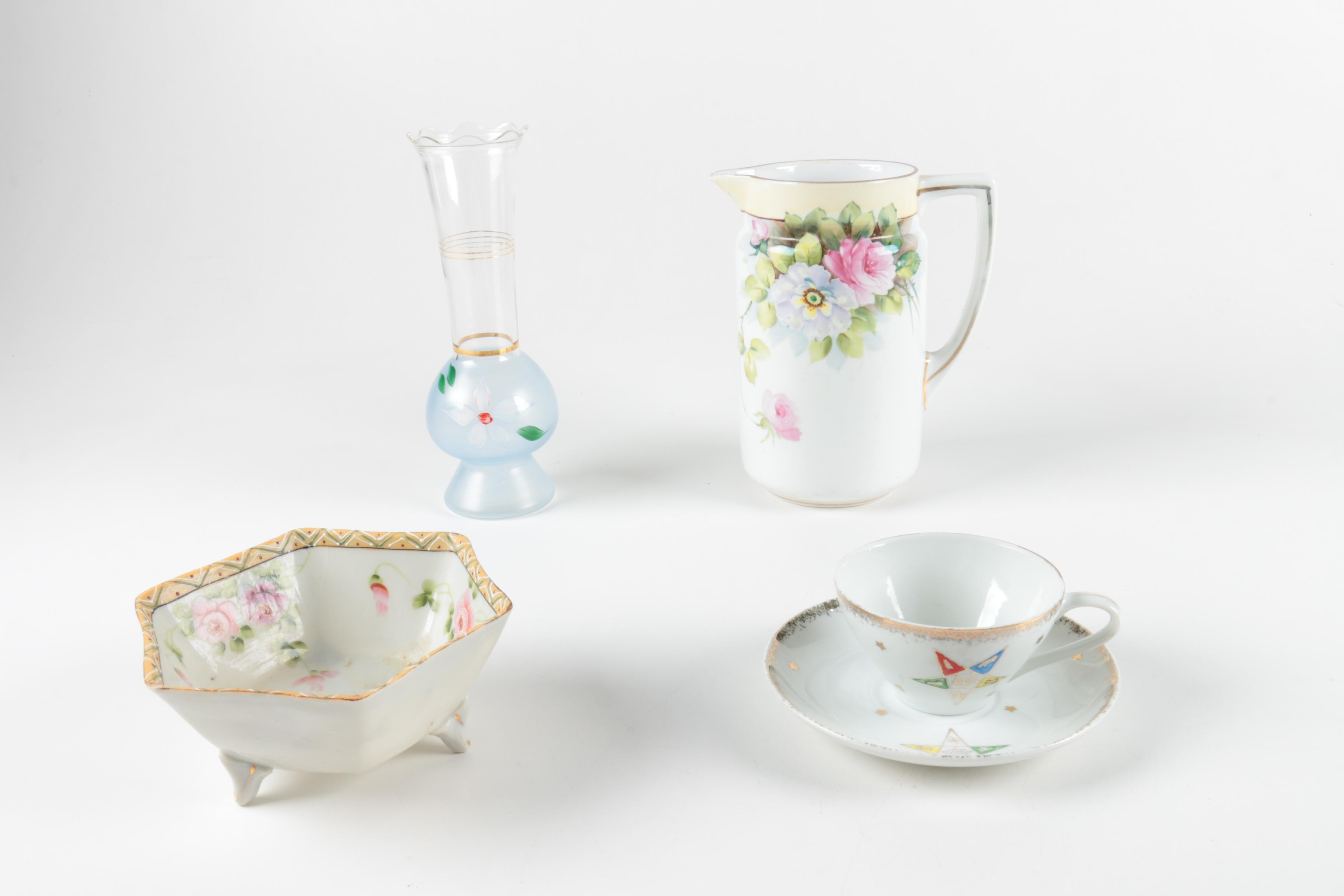Hand Painted Porcelain Tableware and Glass Vase