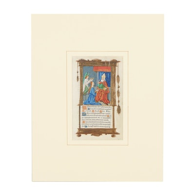 """Early 16th-Century Page from a Book of Hours """"The Coronation of the Virgin"""""""