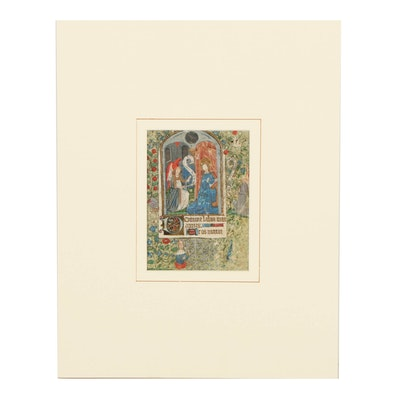 """Miniature Medieval Hand-Painted Page from a Book of Hours """"The Annunciation"""""""