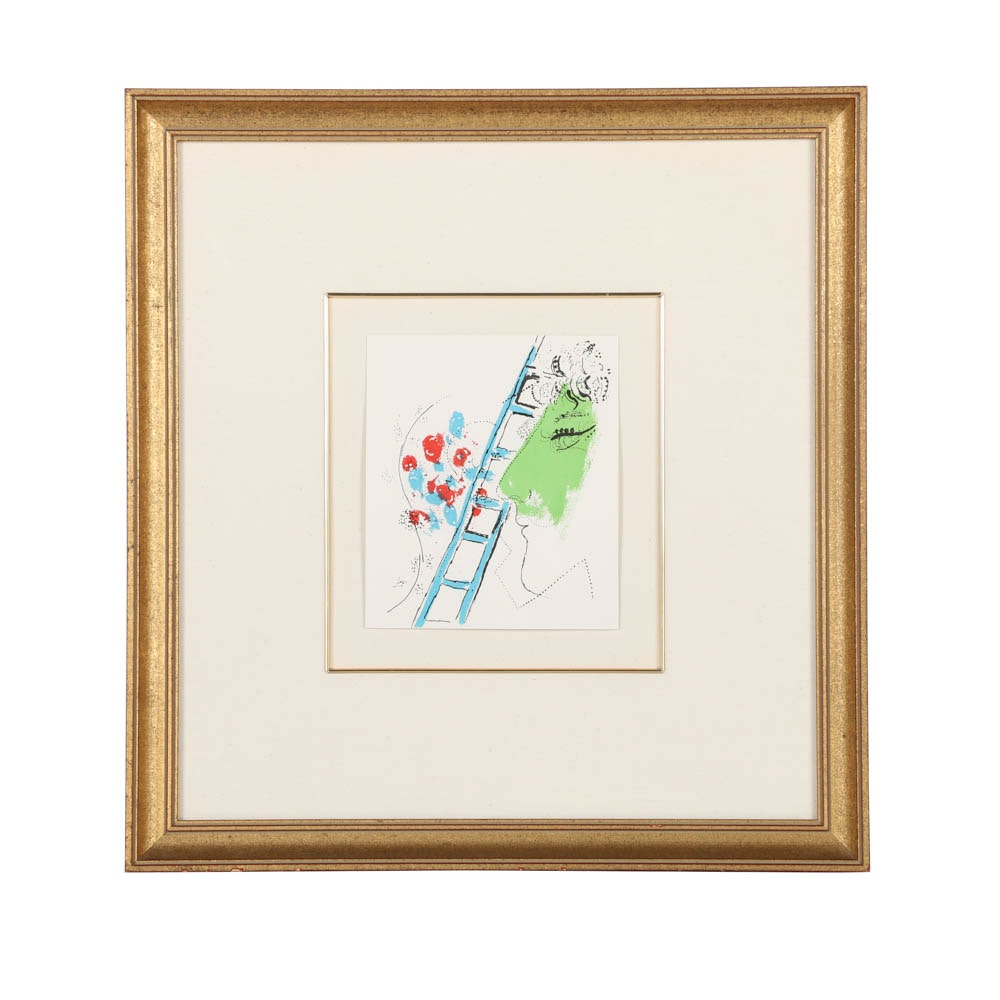 """Marc Chagall Limited Edition Lithograph on Paper """"L'Echelle"""""""