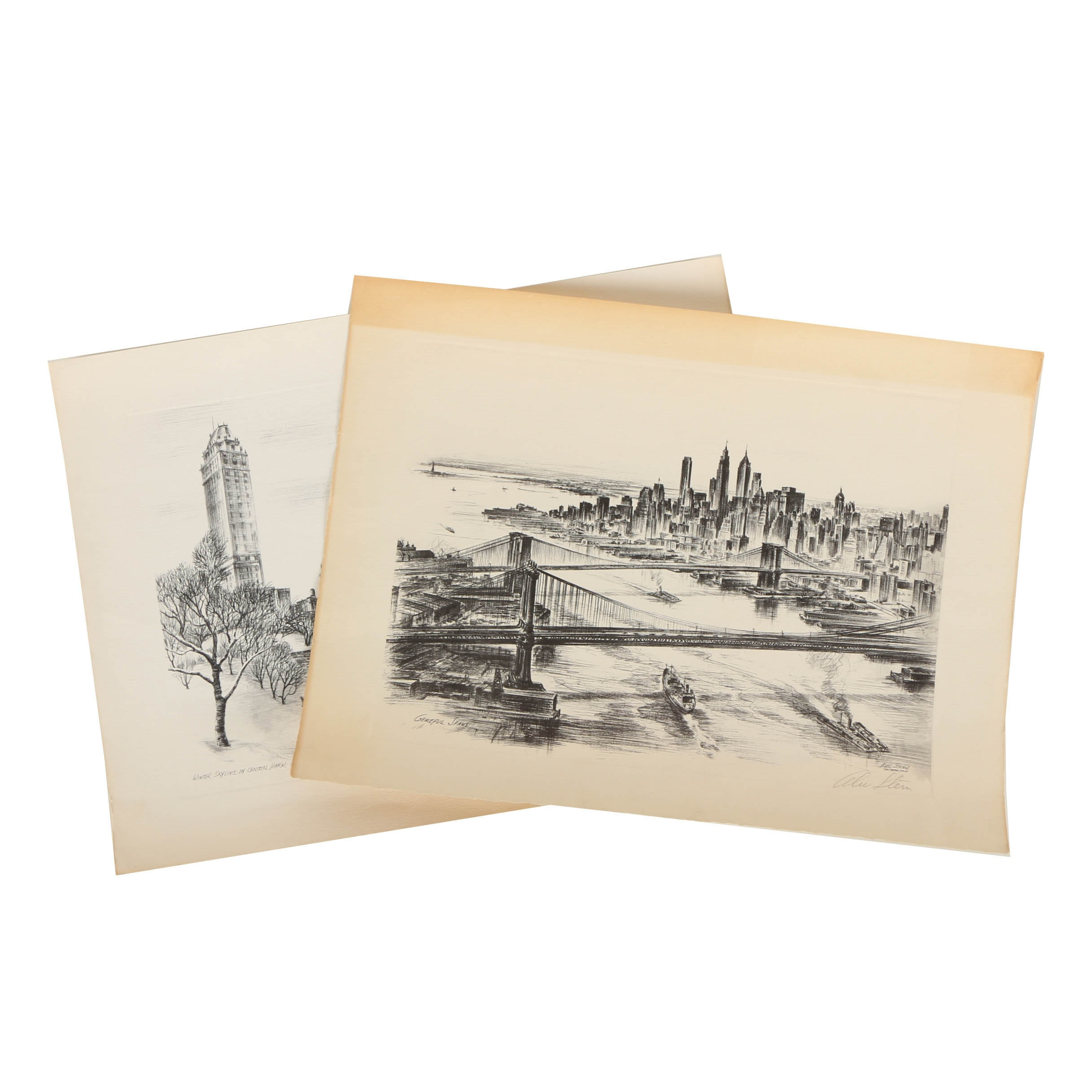 Pair of Signed Alec Stern Halftone Prints on Paper