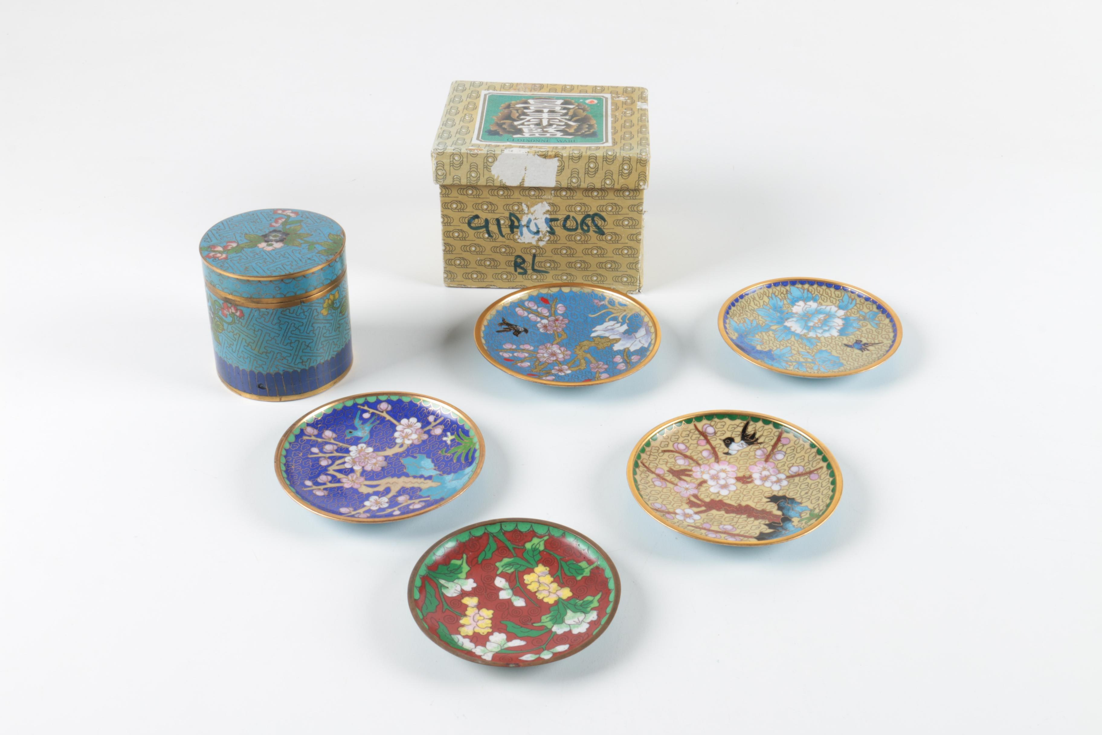 Cloisonné Style Trinket Vase and Chinese Decorative Plates