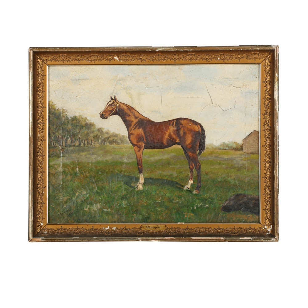 """T. F. Emmons Oil Painting of a Thoroughbred """"Hanover"""""""