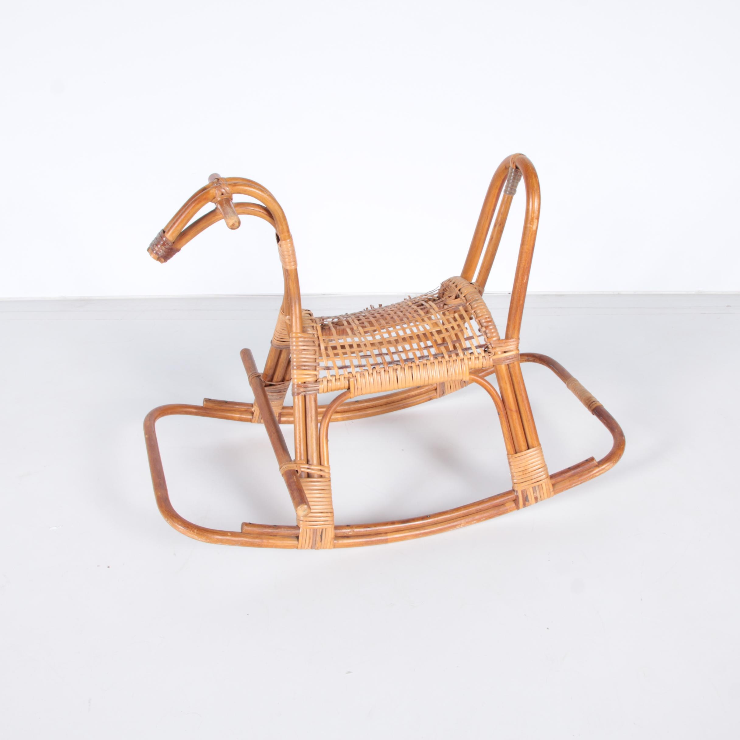 rattan rocking horse with woven seat
