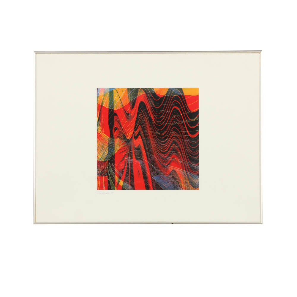 Don Werner Photo Collage on Paper of Abstract Composition