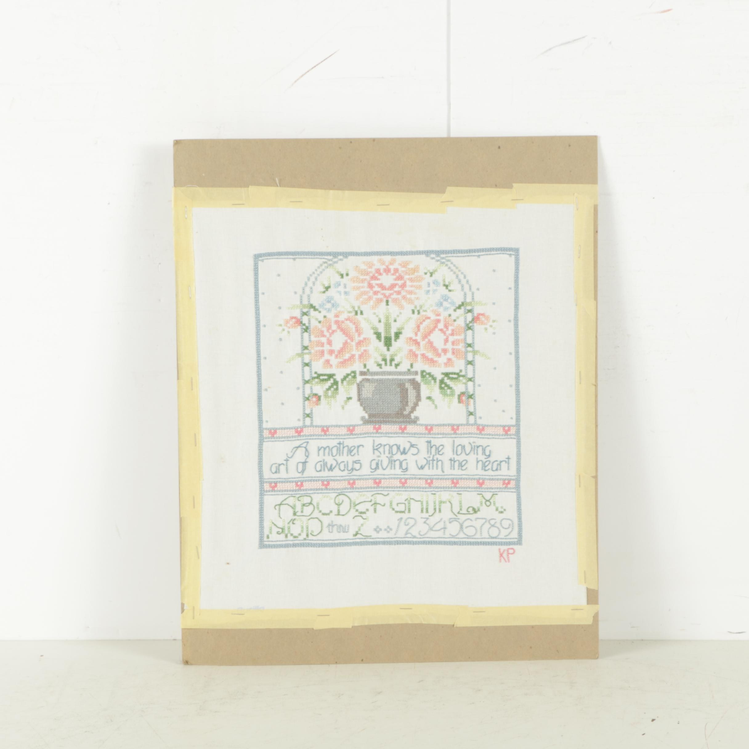"Needlepoint Sampler ""A Mother Knows the Loving Art.."""