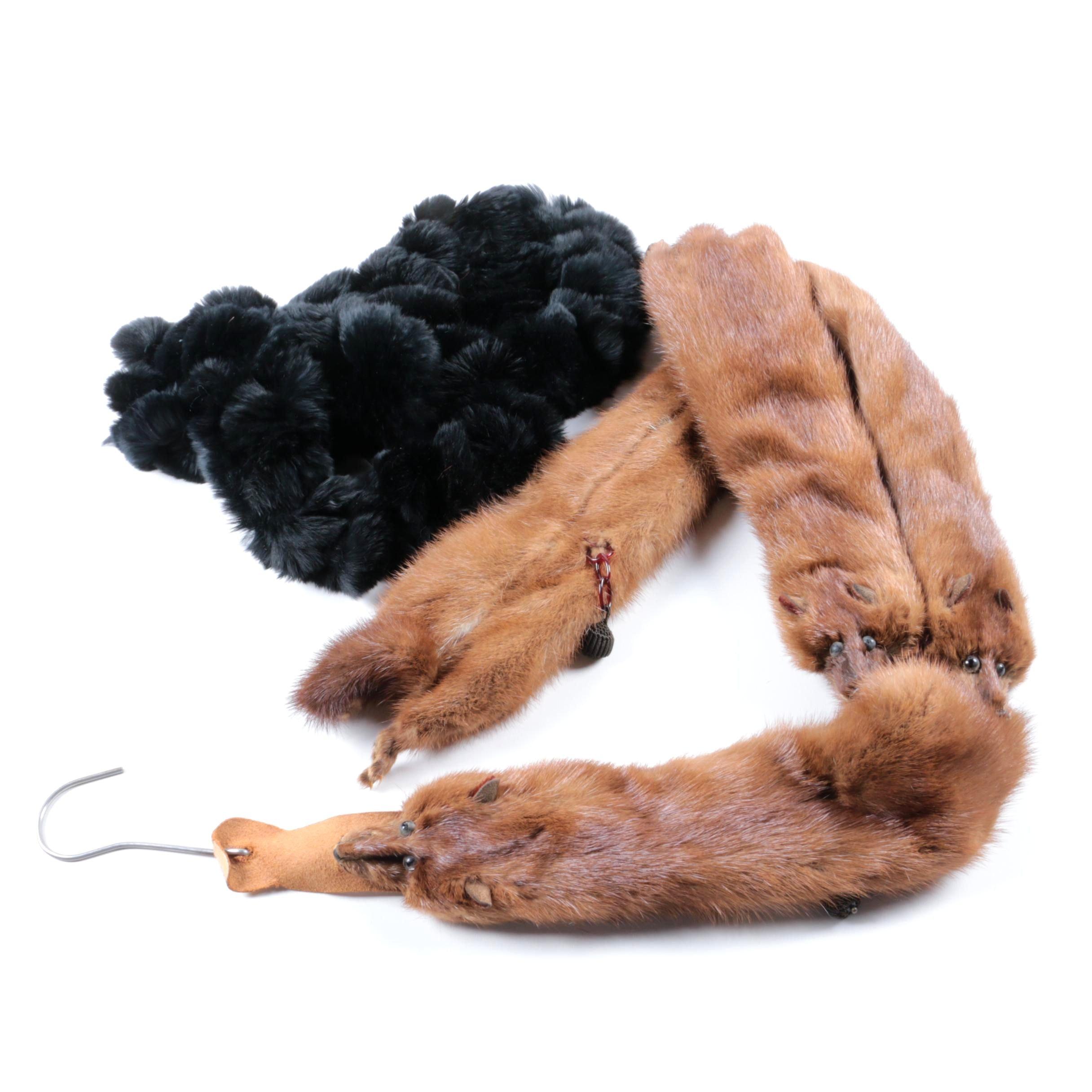 Vintage Mink Wrap and Black Rabbit Fur Pom Pom Scarf