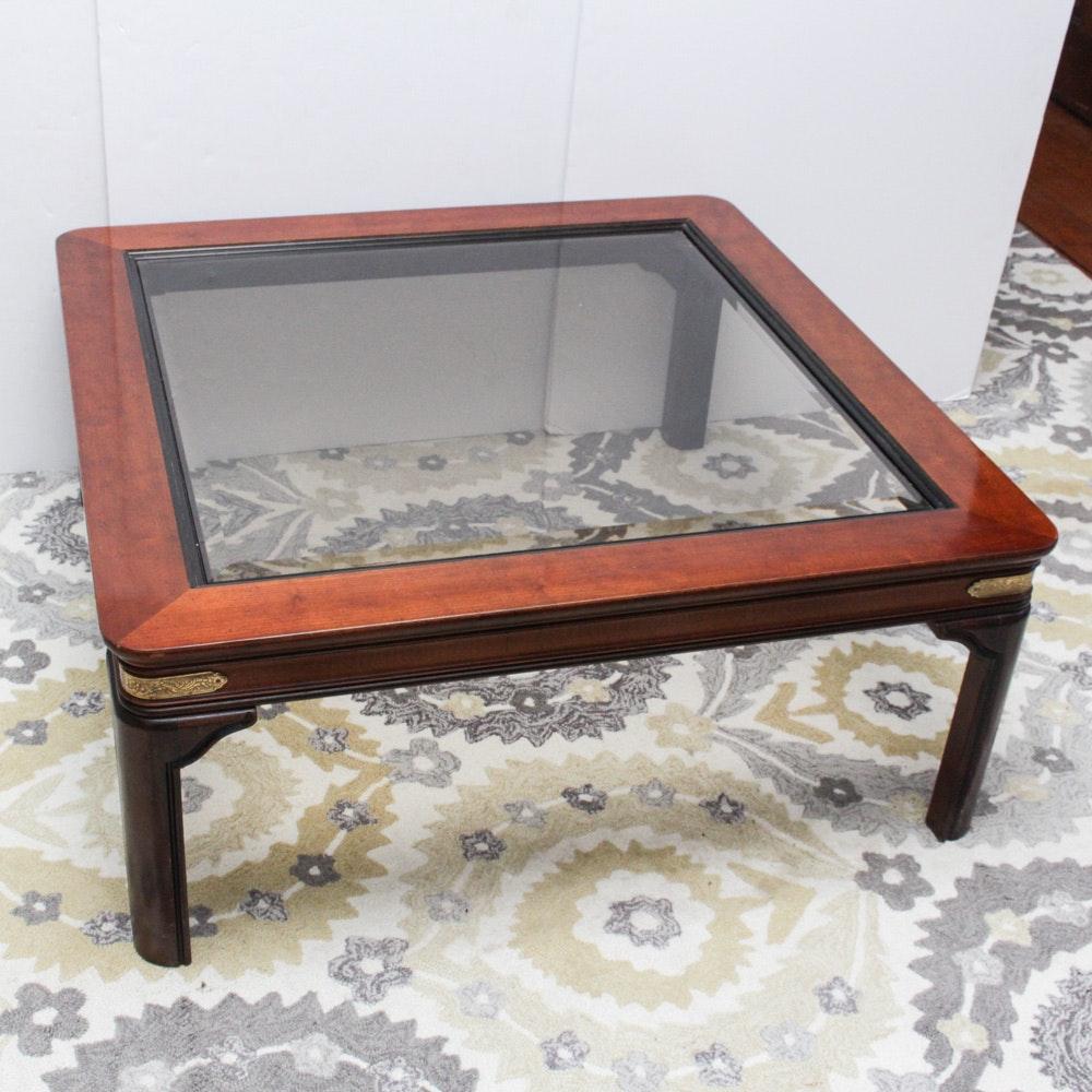 Genial Vintage Glass Top Walnut Coffee Table By Gordonu0027s ...