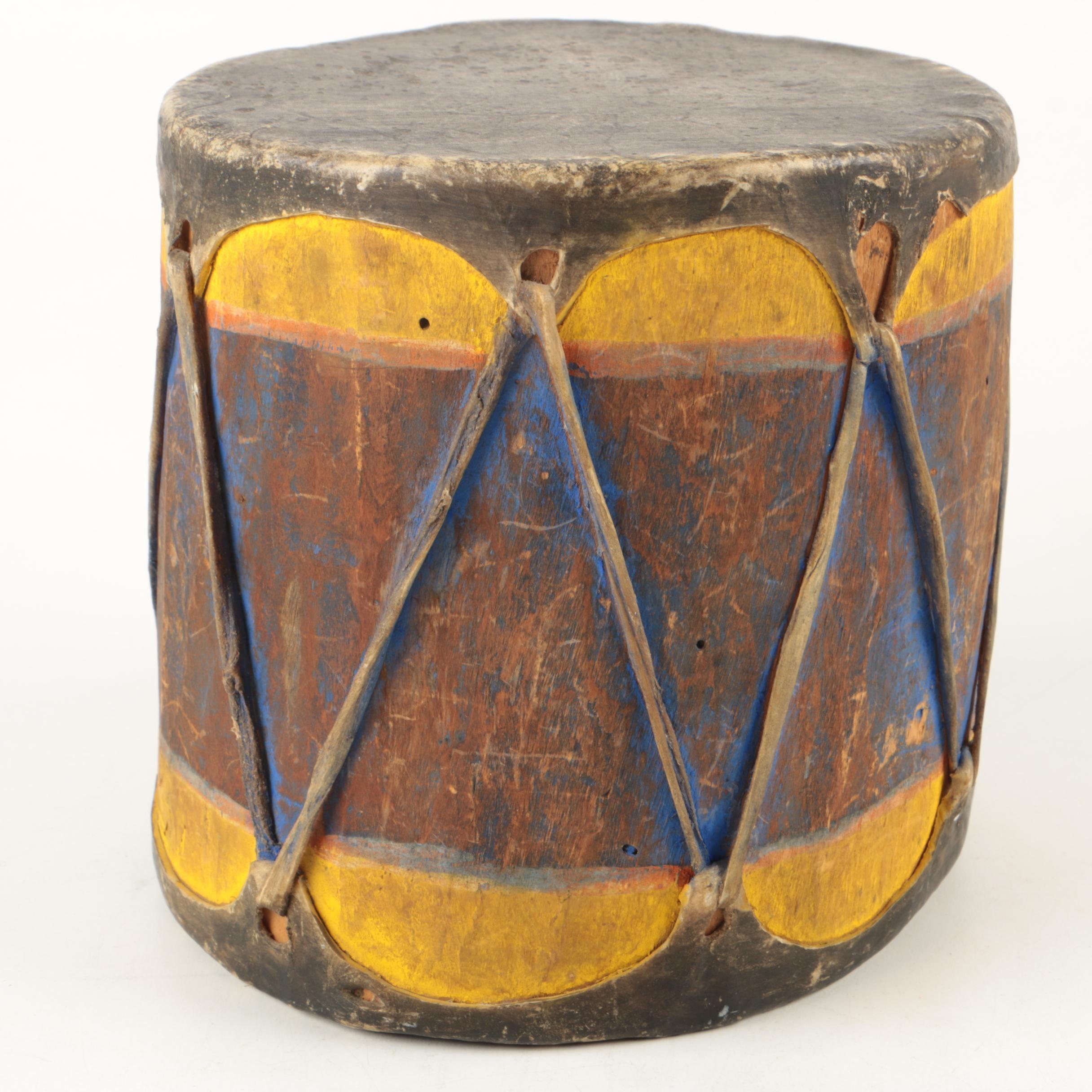 Vintage Handcrafted Cochiti Pueblo Style Log Drum