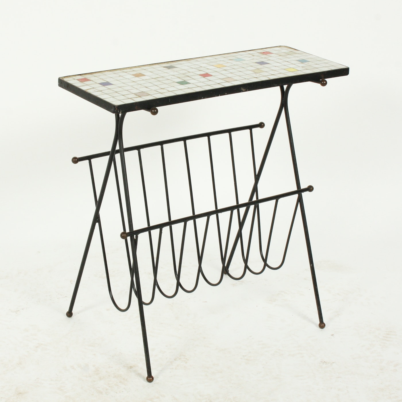 1950s Italian Mid Century Modern Brass And Mosaic Tile Top: Mid Century Modern Mosaic Tile Accent Table