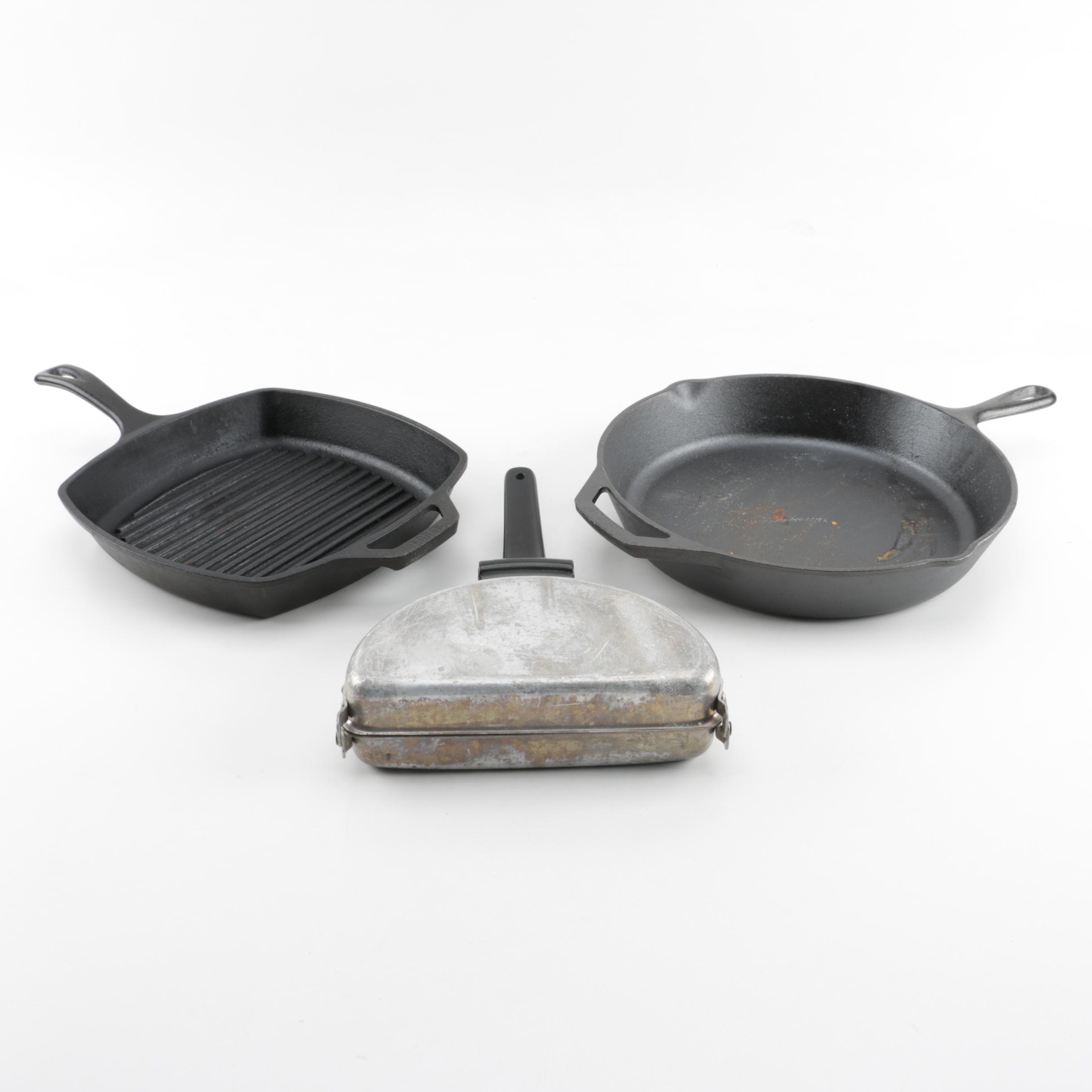 Cast Iron Skillets and Omelet Cooker