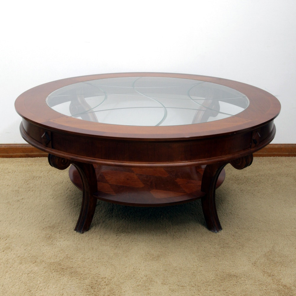 Round Glass Top Wooden Coffee Table