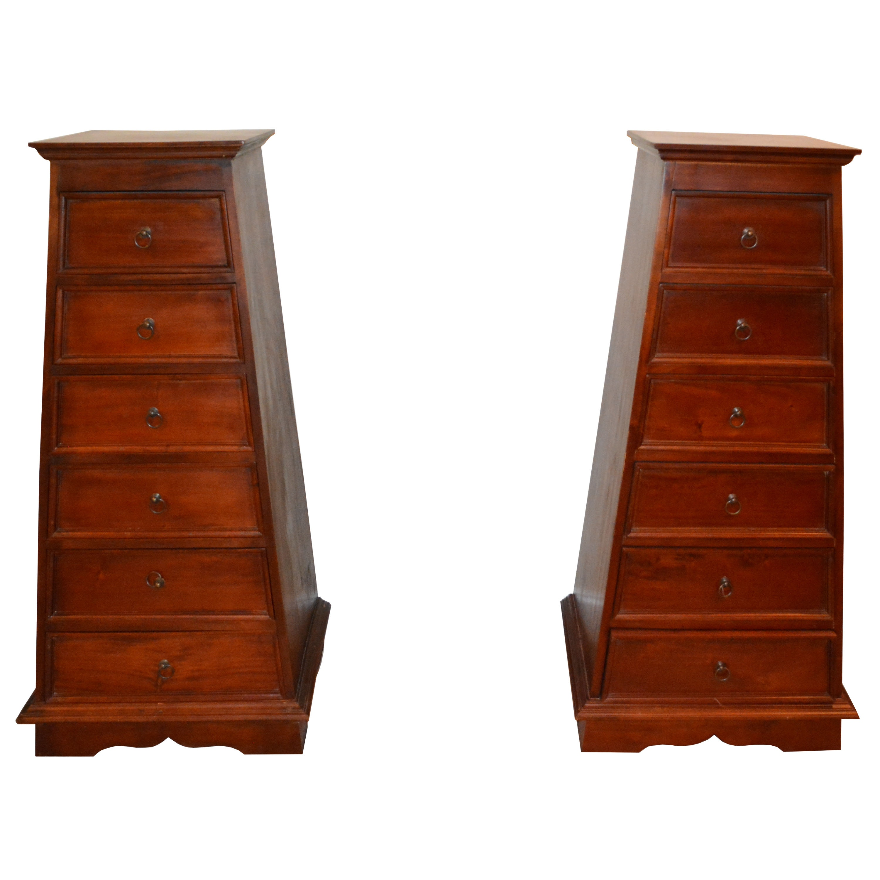 A-Frame Asian Style Chest of Drawers Pair