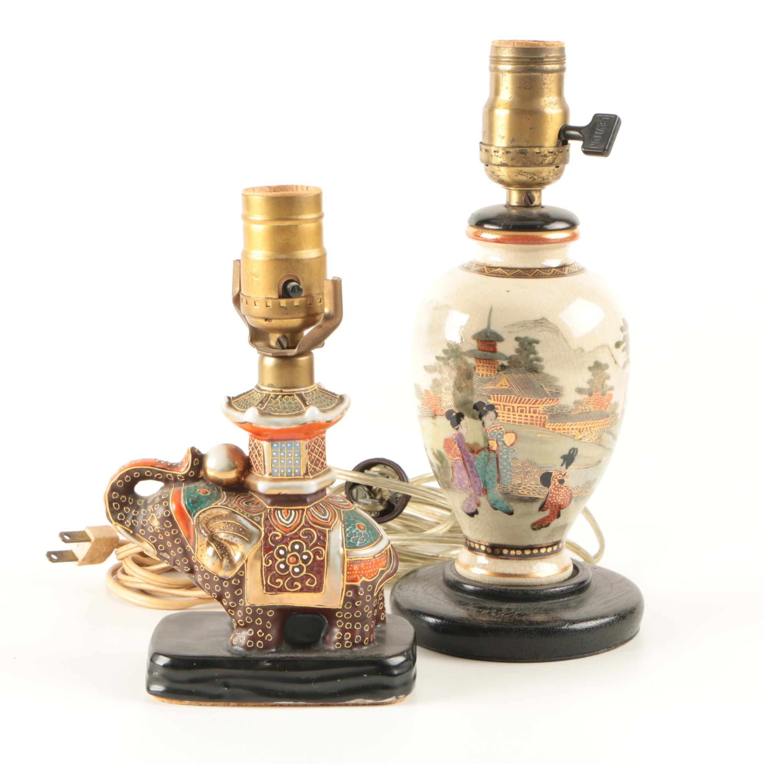Vintage Japanese Satsuma Accent Lamps