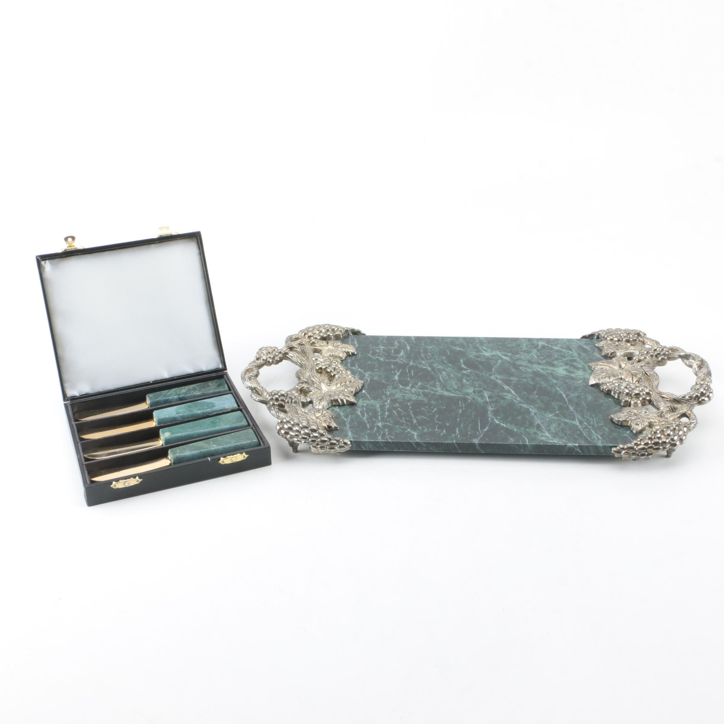 Godinger Green Marble and Silver Plate Cheese Tray with Marble Handle Knife Set