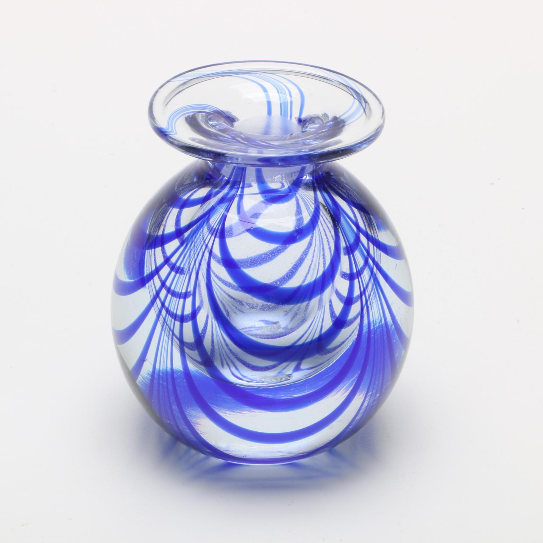 Metropolitan Museum of Art Cobalt Swirled Art Glass Vase