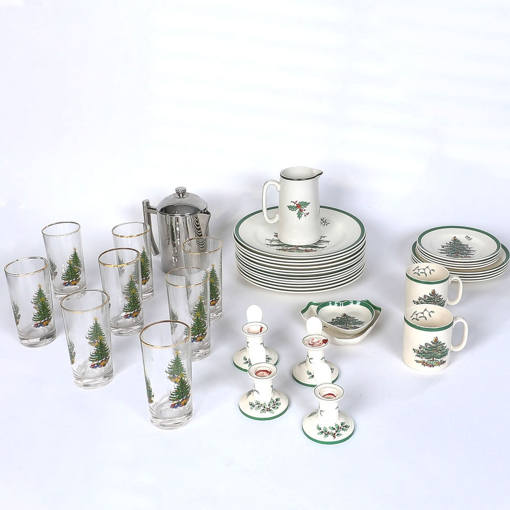 "Spode ""Christmas Tree"" Tableware and Teapot"