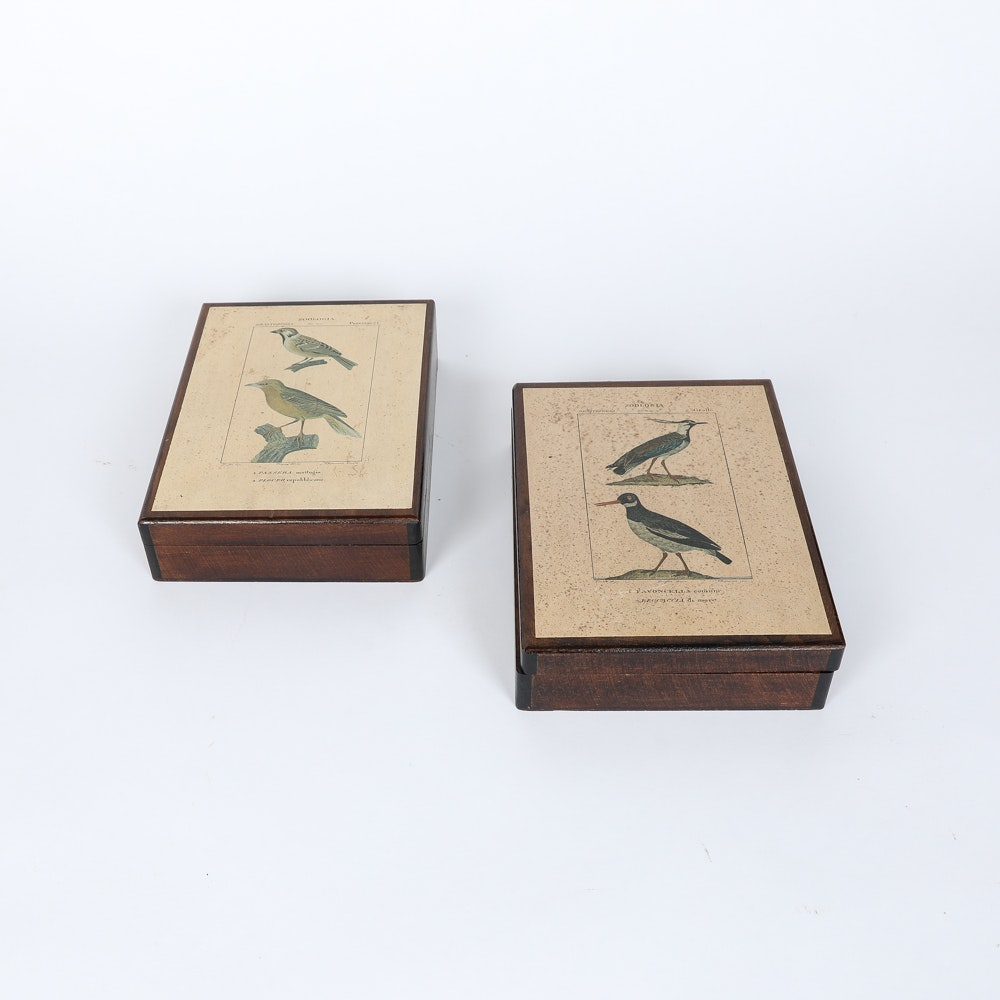Vintage Italian Wood Boxes with Reproduction Antique Prints of Birds