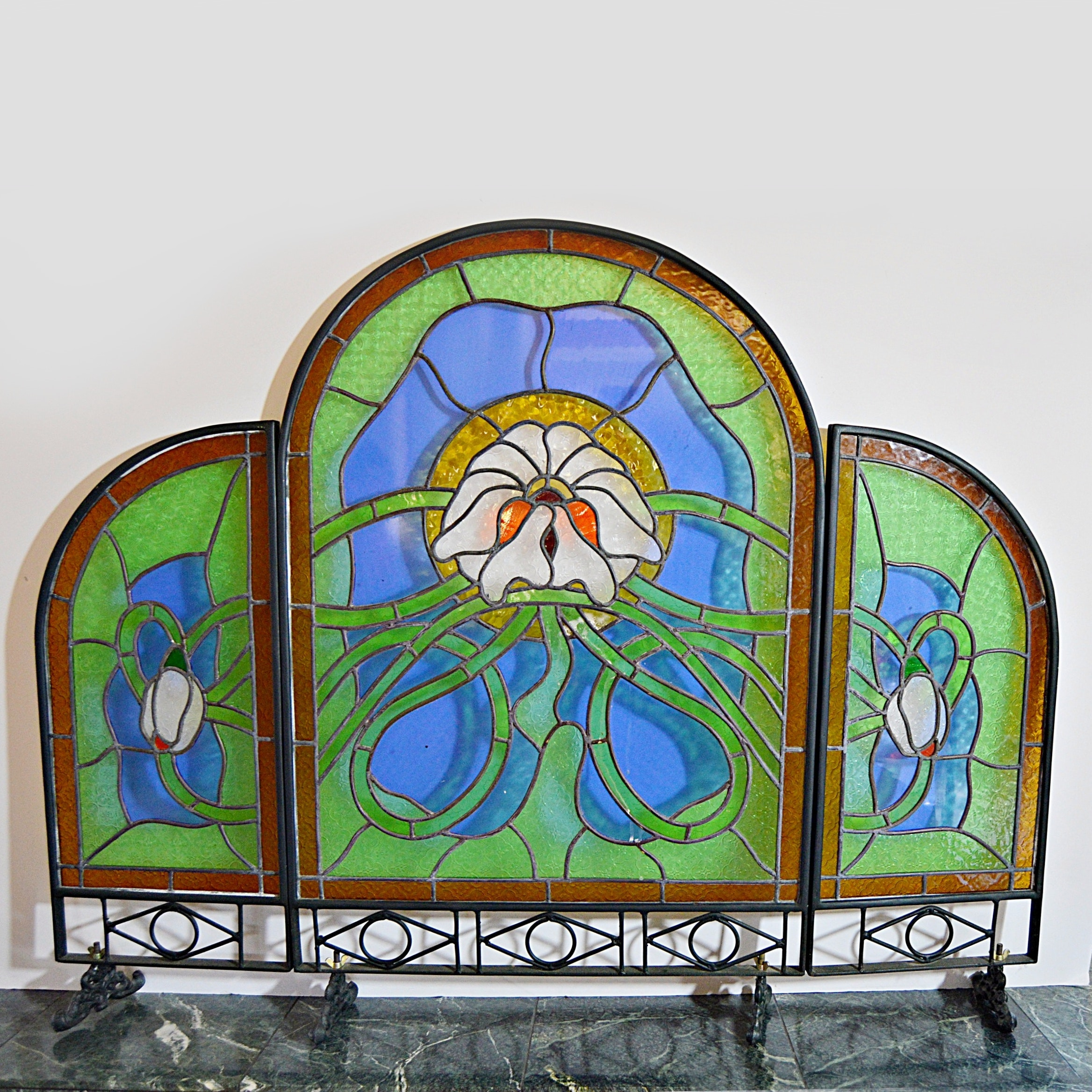 Art Nouveau Style Leaded Stained Glass Tri-Fold Fire Screen