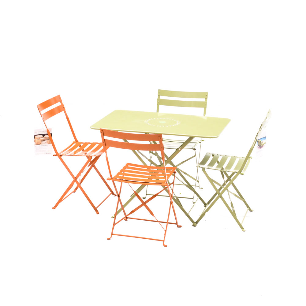 folding cafe table metal ballard designs folding café table and chairs ebth