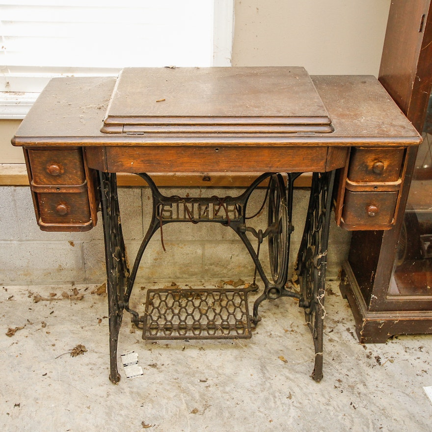 Vintage singer sewing machine table ebth vintage singer sewing machine table watchthetrailerfo