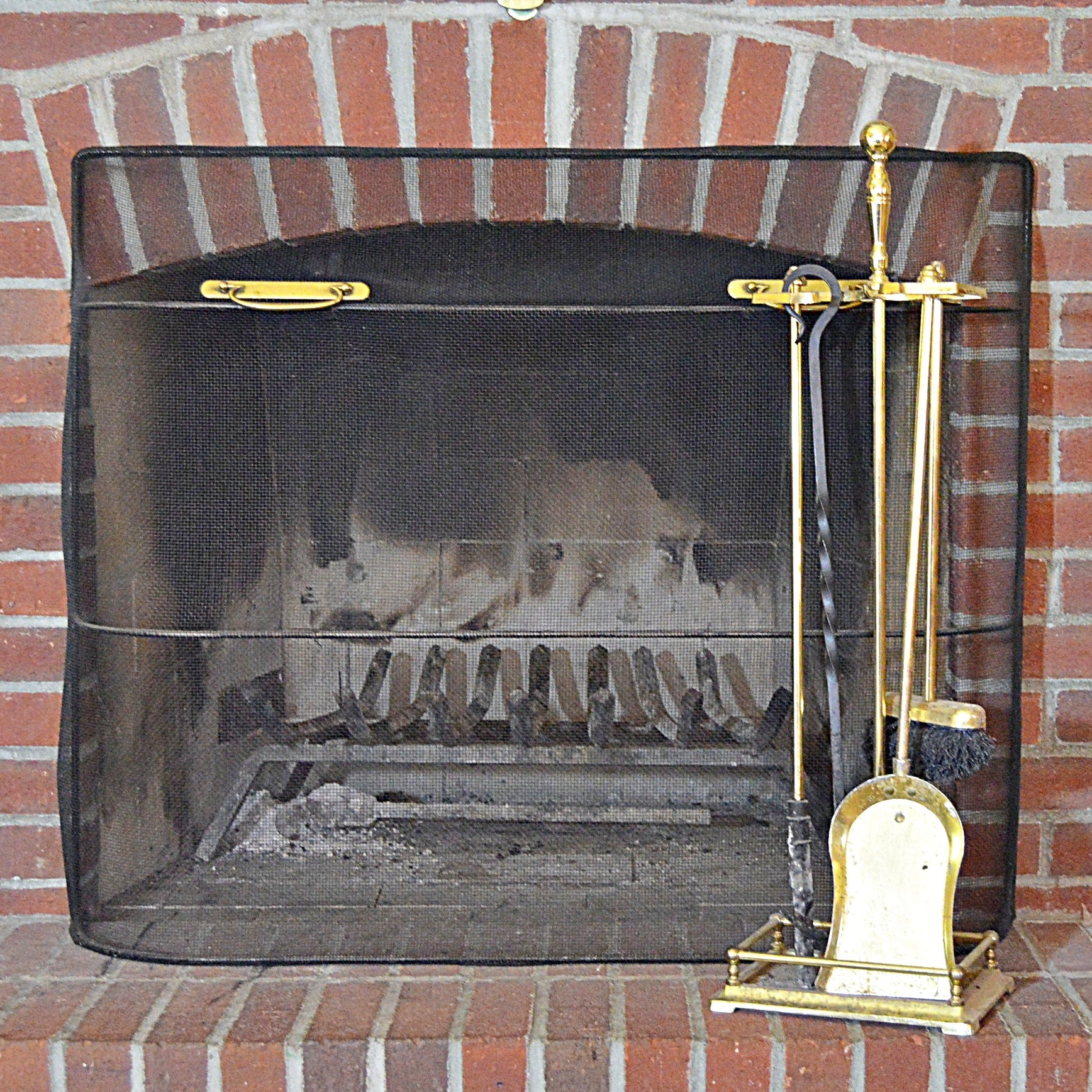 Fireplace Screen and Brass Hearth Tool Set