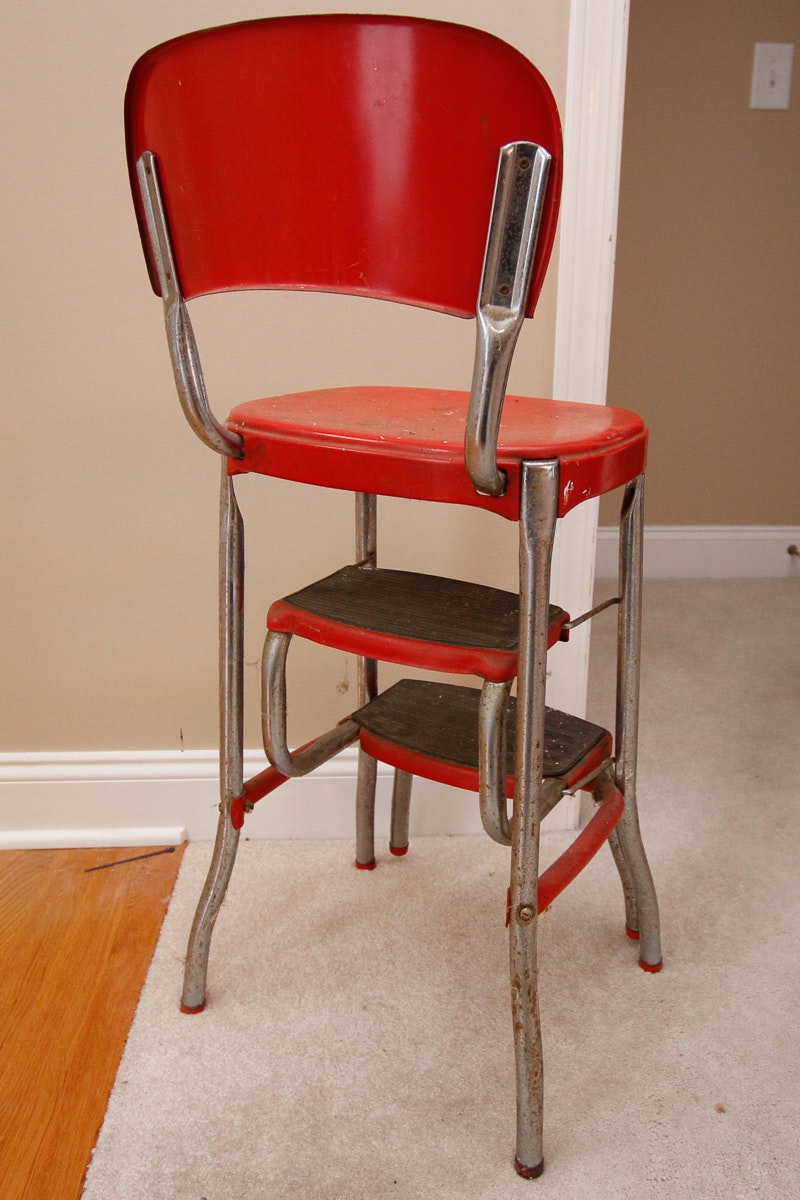Vintage Mid Century Stylaire Step Stool Chair Ebth